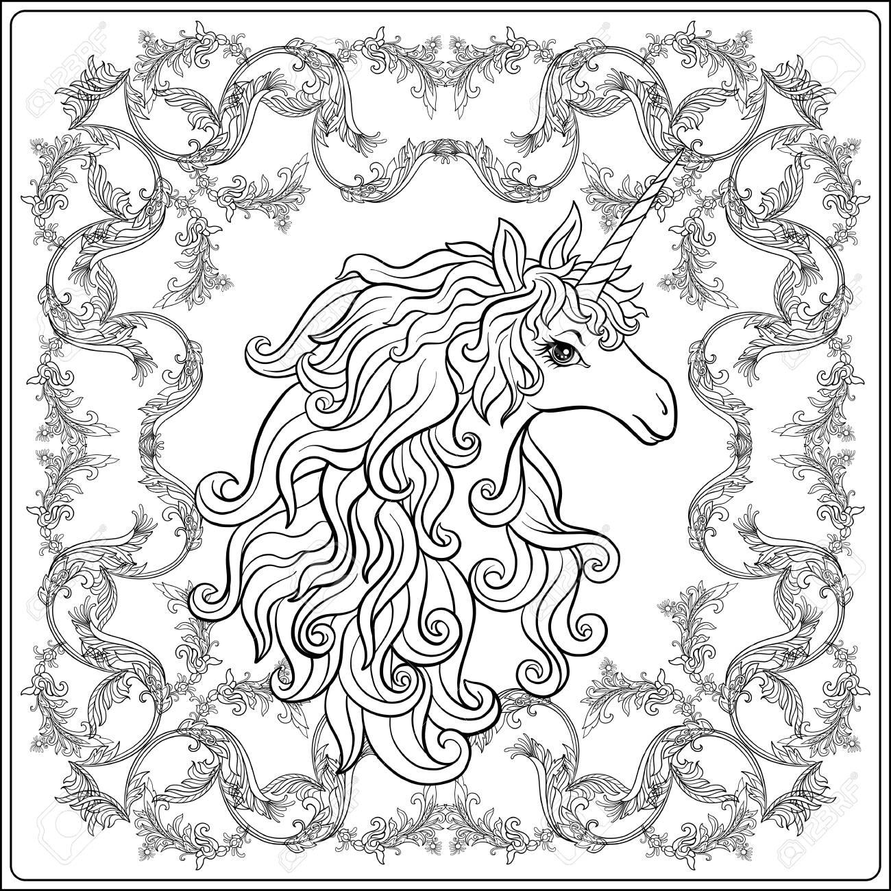 Einhorn Im Rahmen Arabeske Im Königlichen Mittelalterlichen Stil