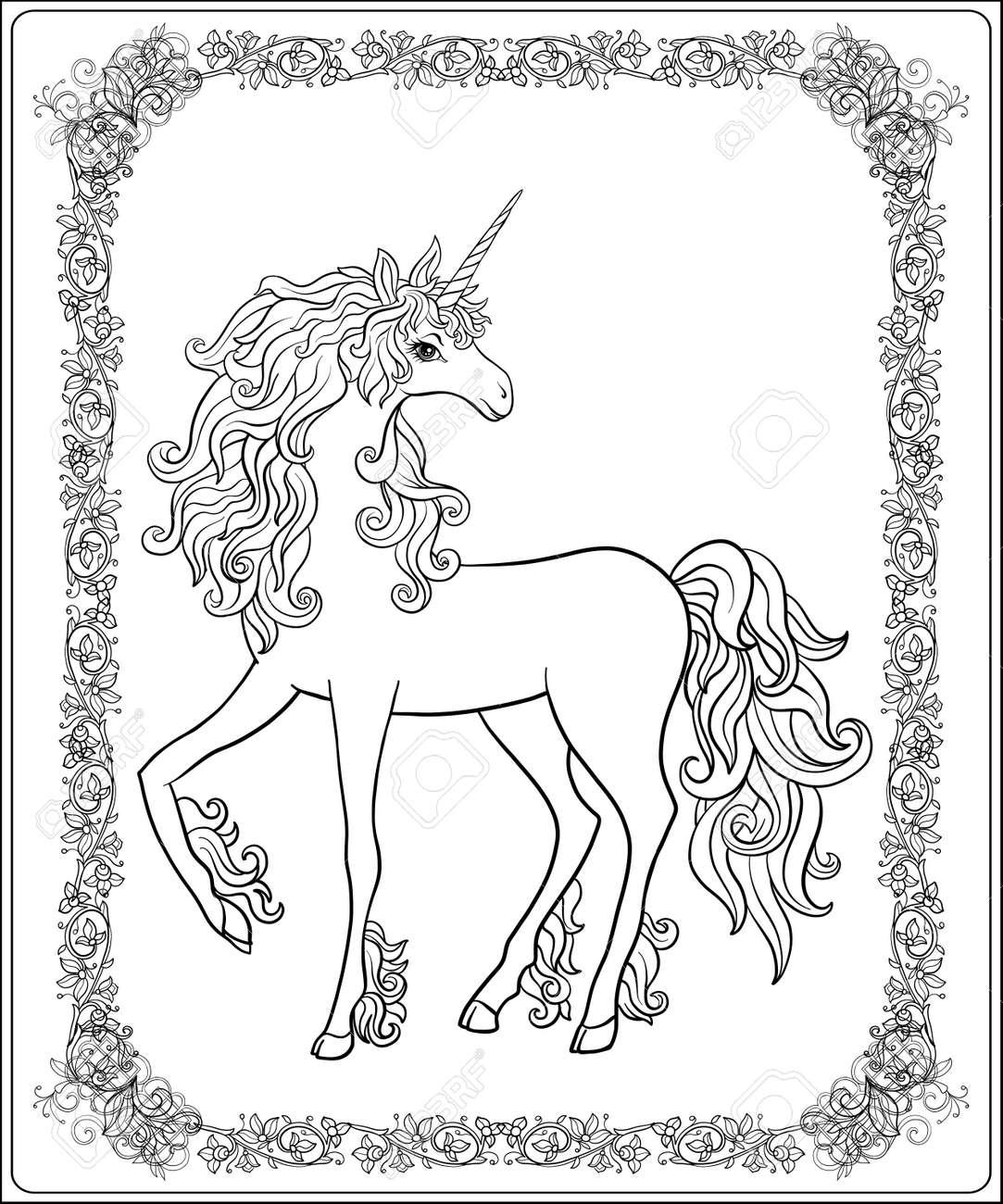 Licorne Dans Le Cadre Arabesque Dans Le Style Royal Medieval Coloriage Dessin De Contour Livre De Coloriage Pour Adulte Vecteur Stock