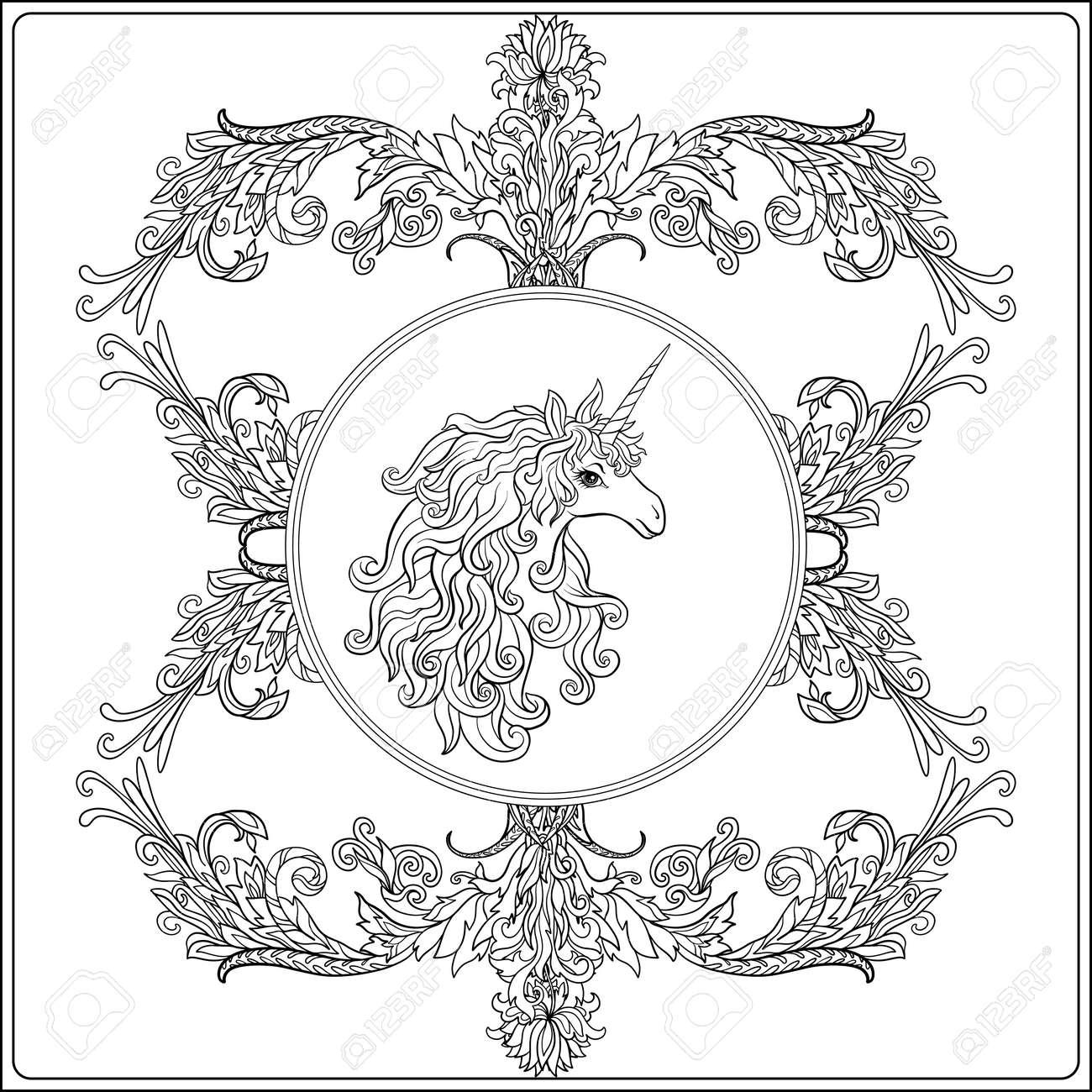 Einhorn Im Rahmen, Arabeske Im Königlichen, Mittelalterlichen Stil ...