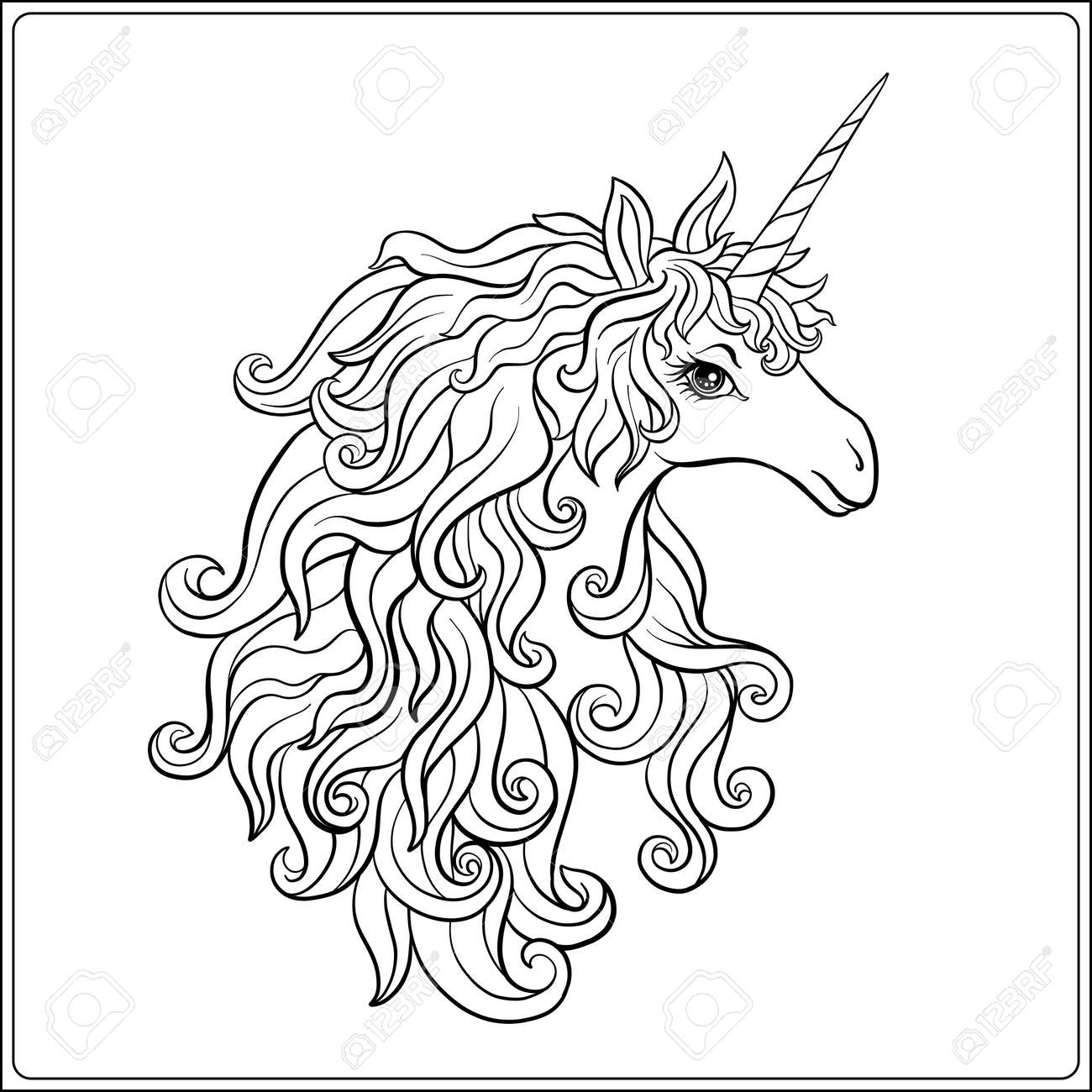 - Unicorn. Outline Drawing Coloring Page. Coloring Book For Adult