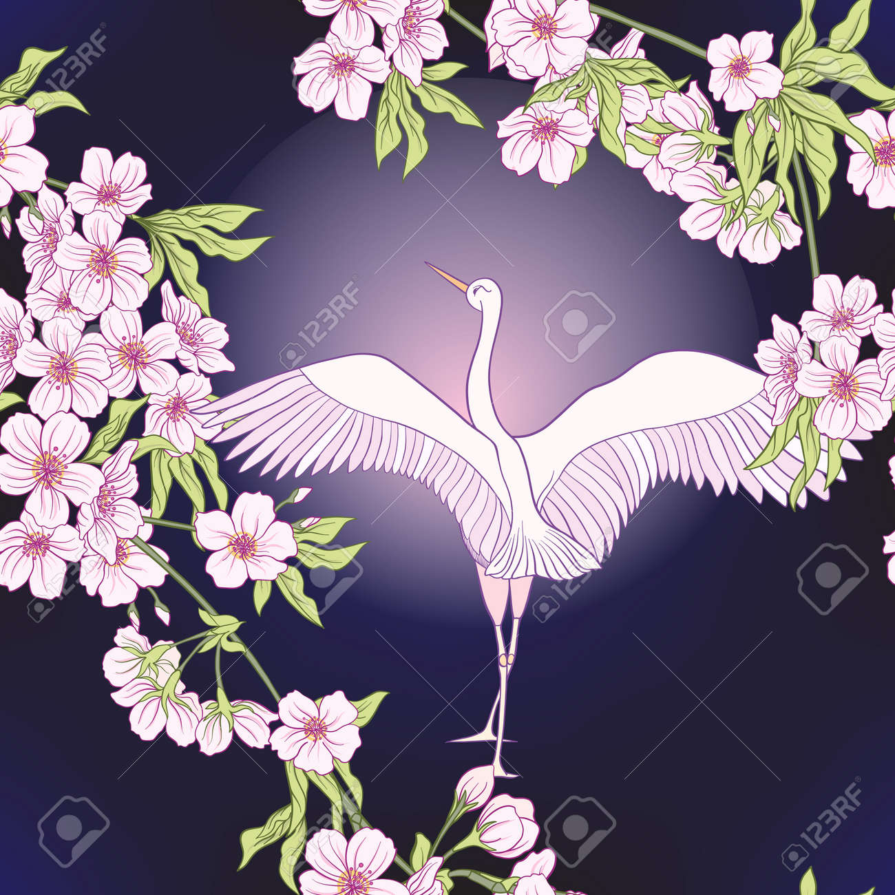 1eb03087f7 Foto de archivo - Patrón sin fisuras con flor japonesa sakura y grúa