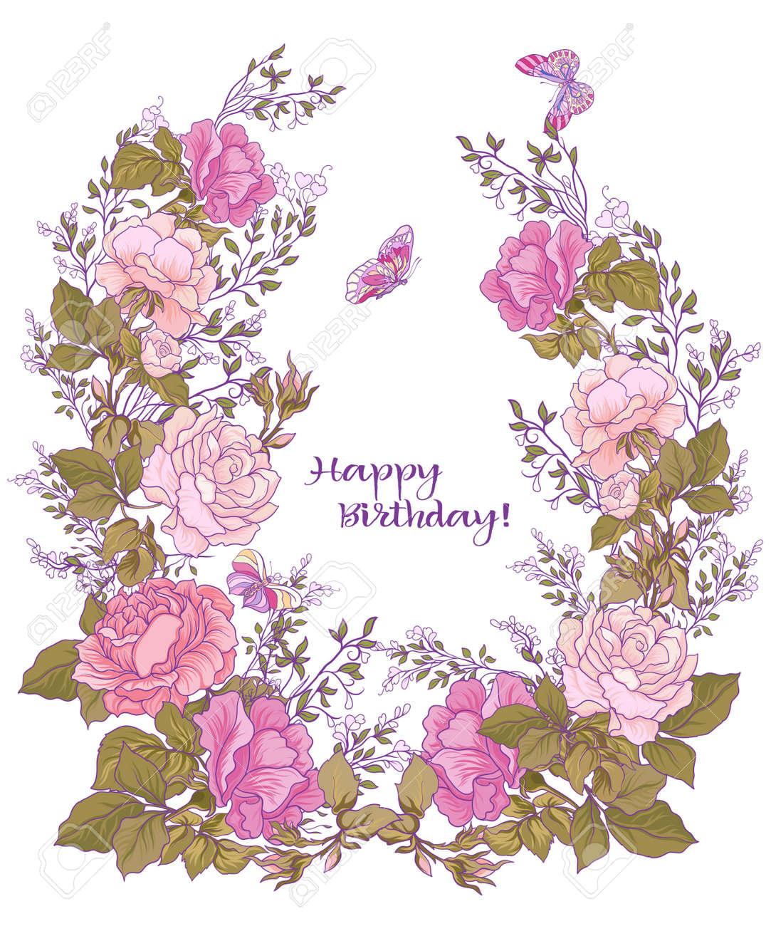 Priorità Bassa Del Fiore Di Rose E Farfalle Buono Per Biglietto Di Auguri Per Compleanno Invito O Banner Stock Vettoriale