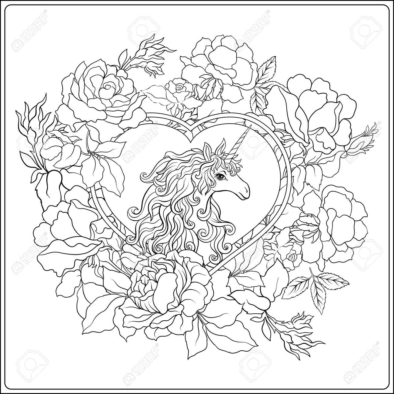 ユニコーン組成物はバラの花束に囲まれたユニコーンで構成されます