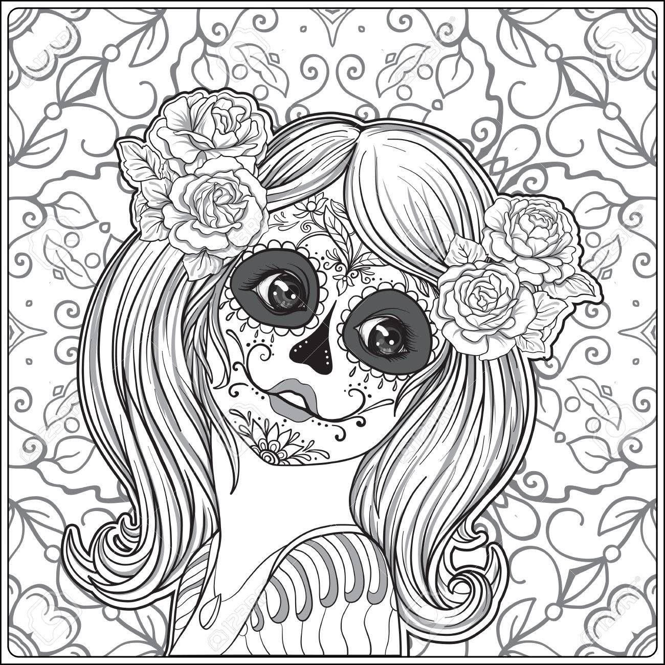 El Retrato De Una Muchacha Hermosa Joven En Halloween O El Día De ...