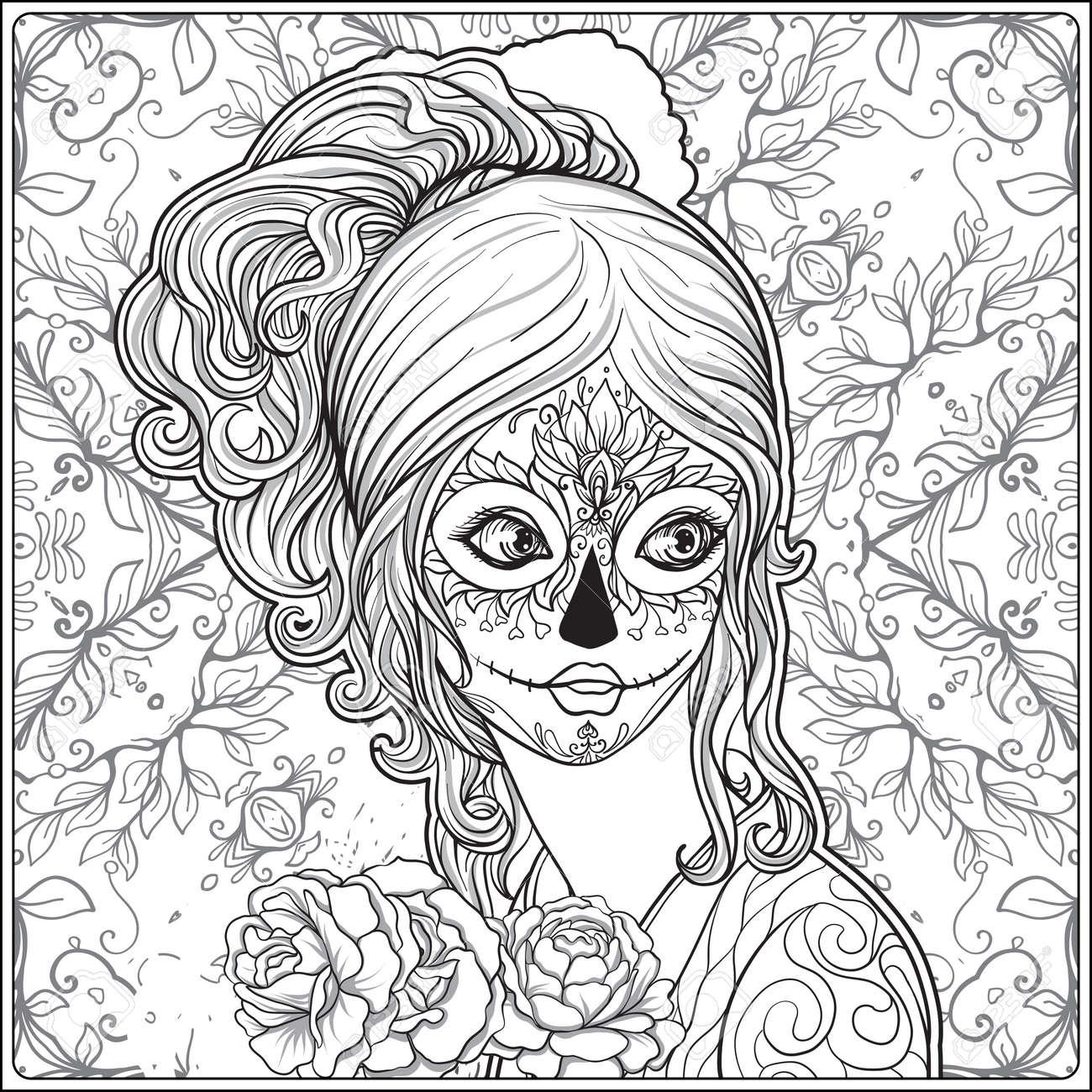 Portrait D Une Belle Jeune Fille Halloween Ou Jour Des Morts Maquillage Sur Fond Décoratif Dessiner La Main Coloriage Dessin à La Main Pour Le Livre