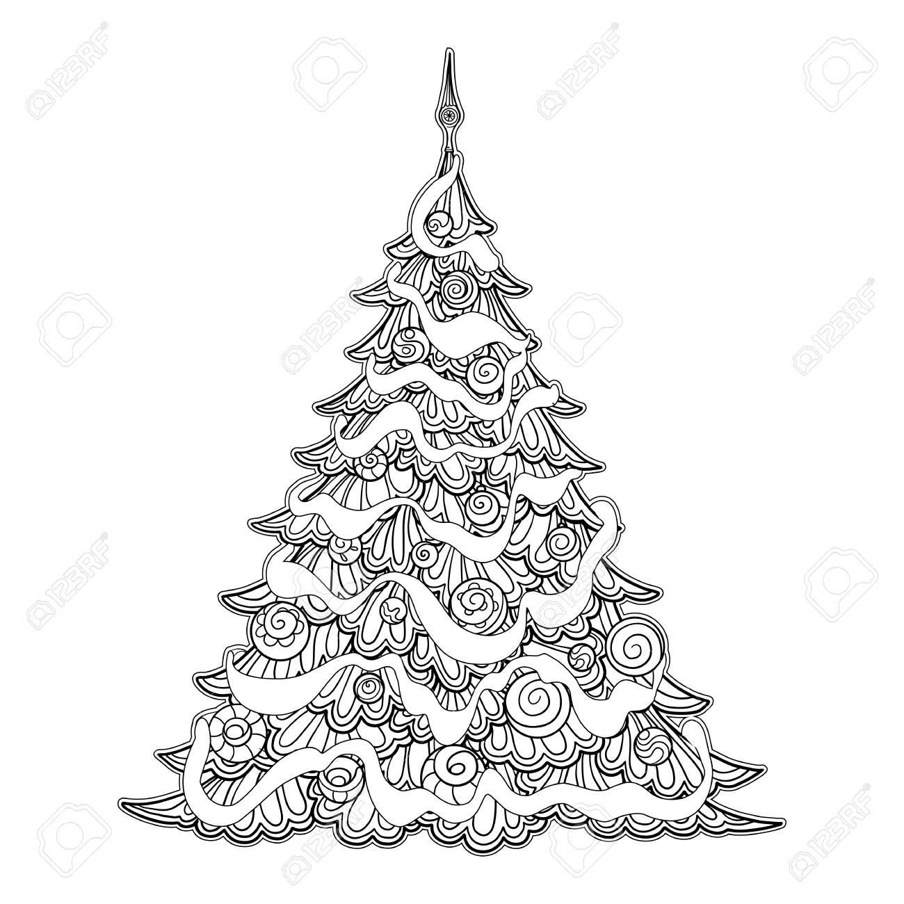 Christmas Tree Coloring Page.Christmas Tree Contour Drawing Good For Coloring Page For The