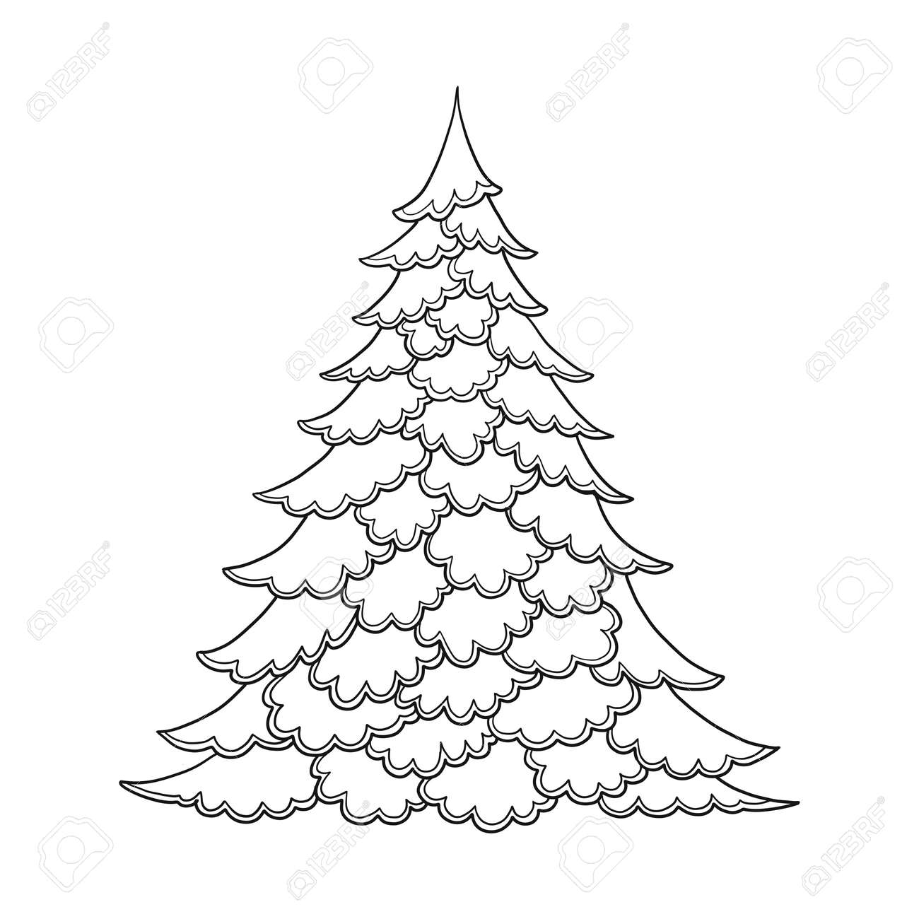 - Christmas Tree. Contour Drawing. Good For Coloring Page For The