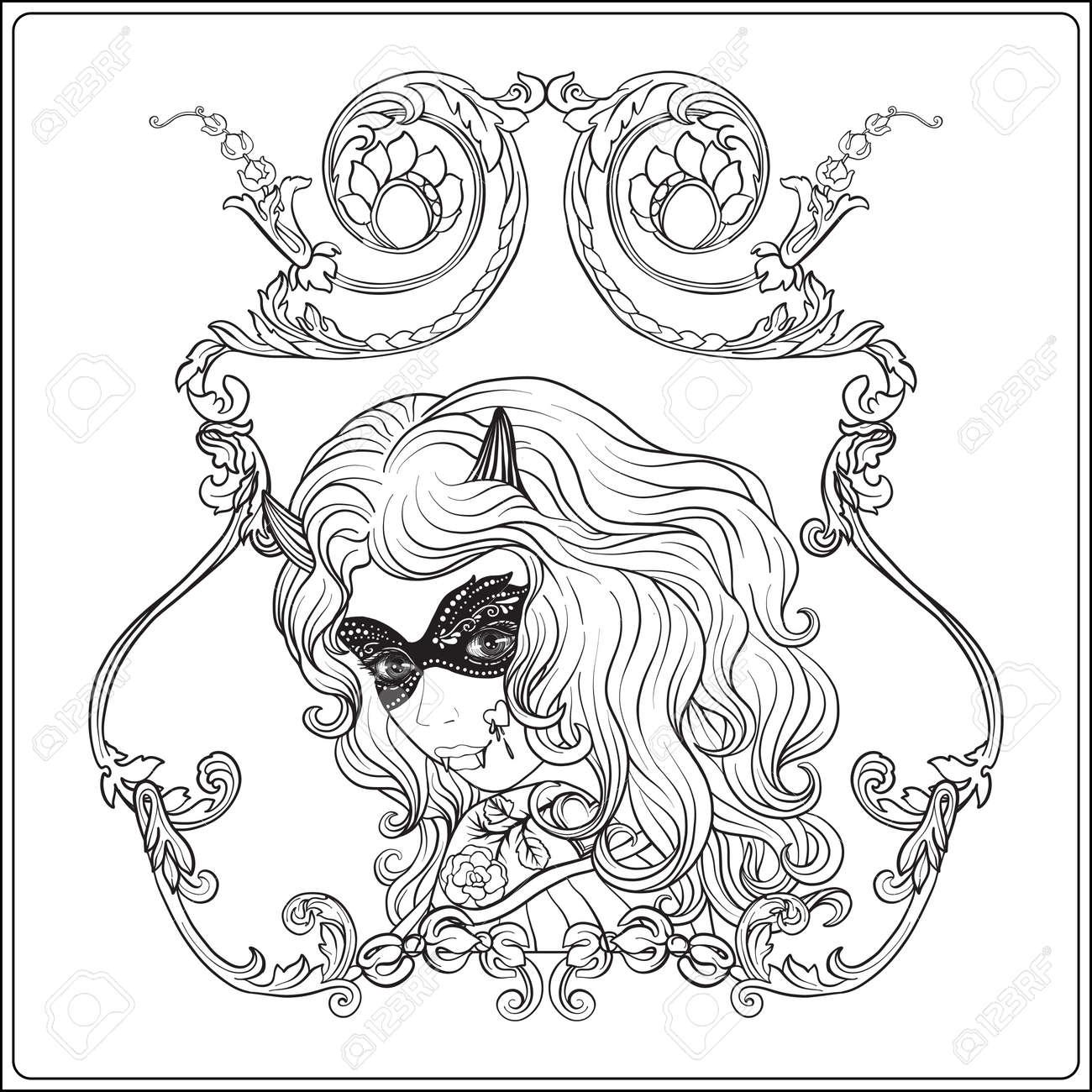 Portrait D Une Belle Fille A Halloween Composent Dans Un Cadre Decoratif Pour Dessiner Le Livre De Coloriage