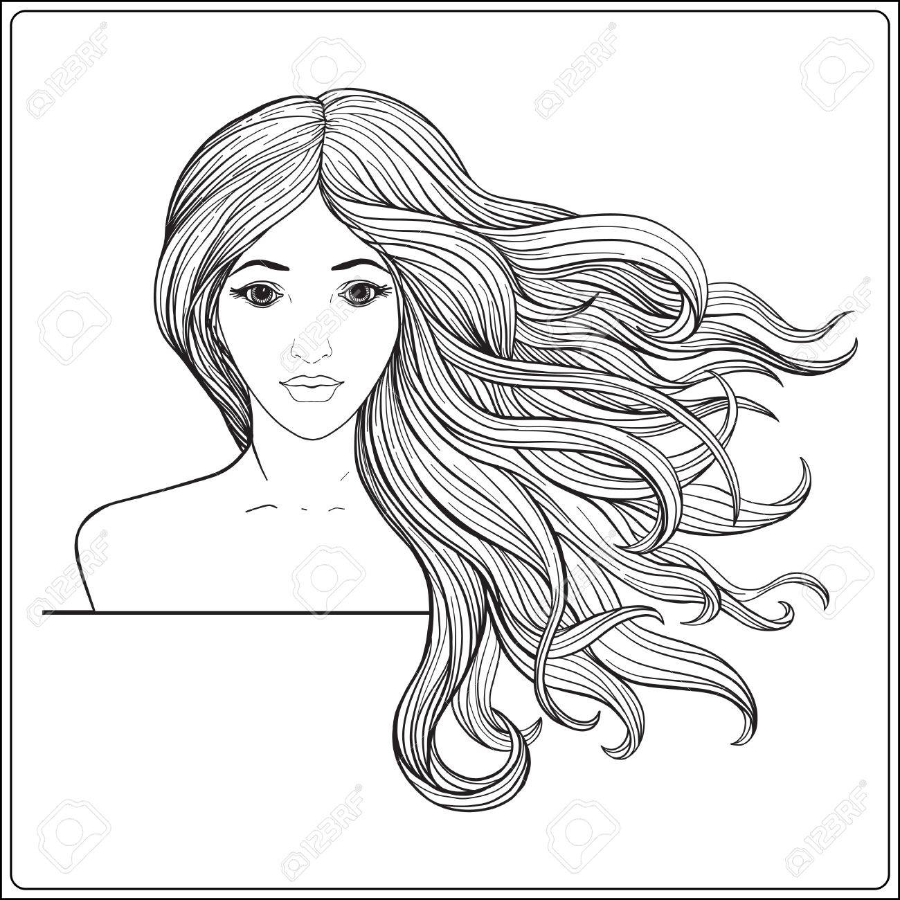 Coloriage Fille Cheveux Longs.Belle Jeune Fille Avec De Longues Cheveux Composition Vectorielle Ligne Apercu Illustration De La Ligne De Coloriage Coloriage Pour La Page De