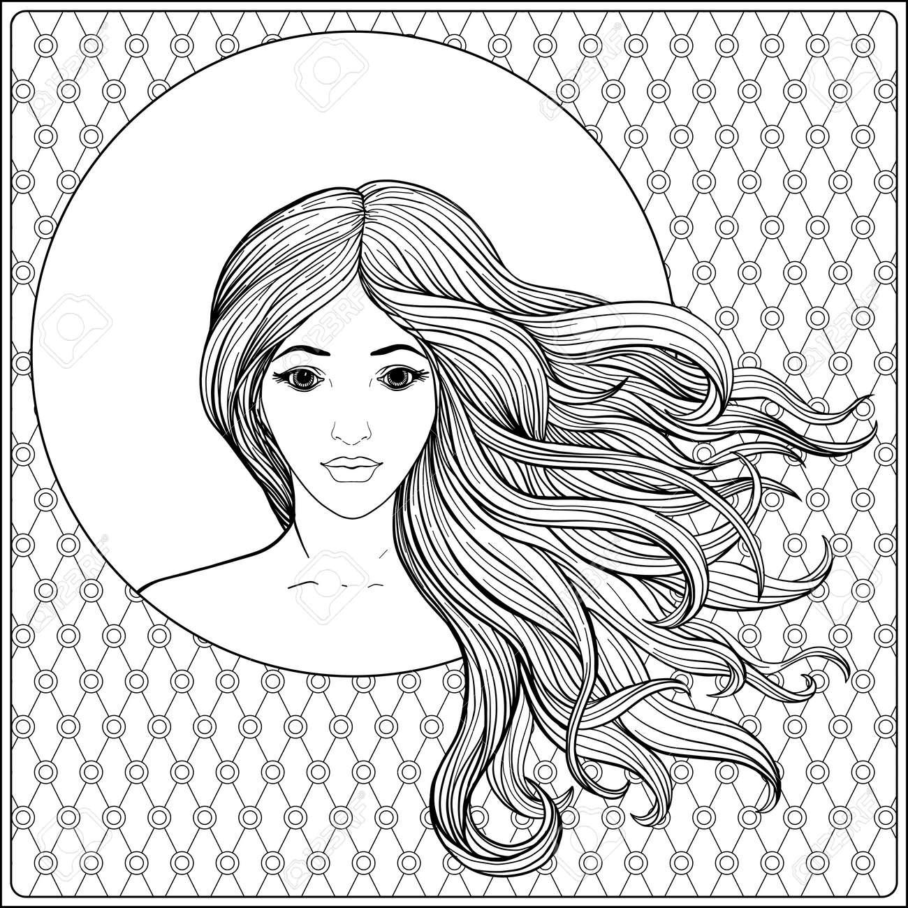 Jeune Belle Fille Avec Des Cheveux Longs Dans Un Cadre A Motifs Floral Decore Riche Illustration Vectorielle De Stock Ligne Dessin Au Trait Coloriage De Dessin De Main De Contour Pour Le