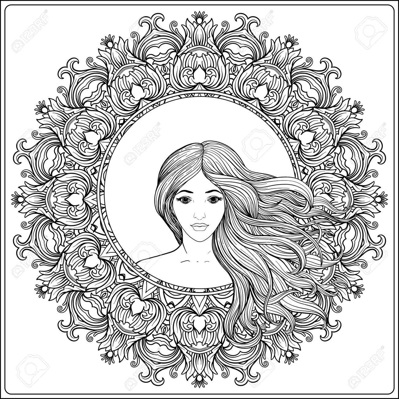 Coloriage Fille Cheveux Longs.Jeune Belle Fille Avec Des Cheveux Longs Dans Un Cadre A Motifs Floral Decore Riche Illustration Vectorielle De Stock Ligne Dessin Au Trait