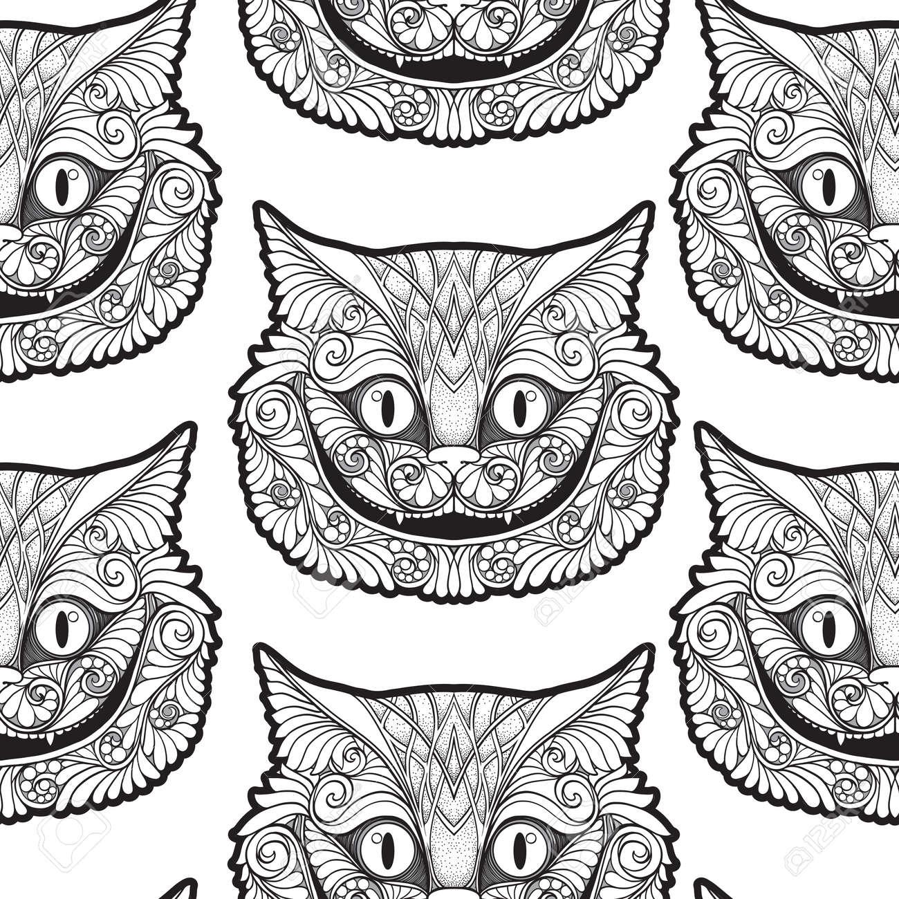 Cheshire Katzenkopf Vom Nahtlosen Muster Der Marchen Hintergrund
