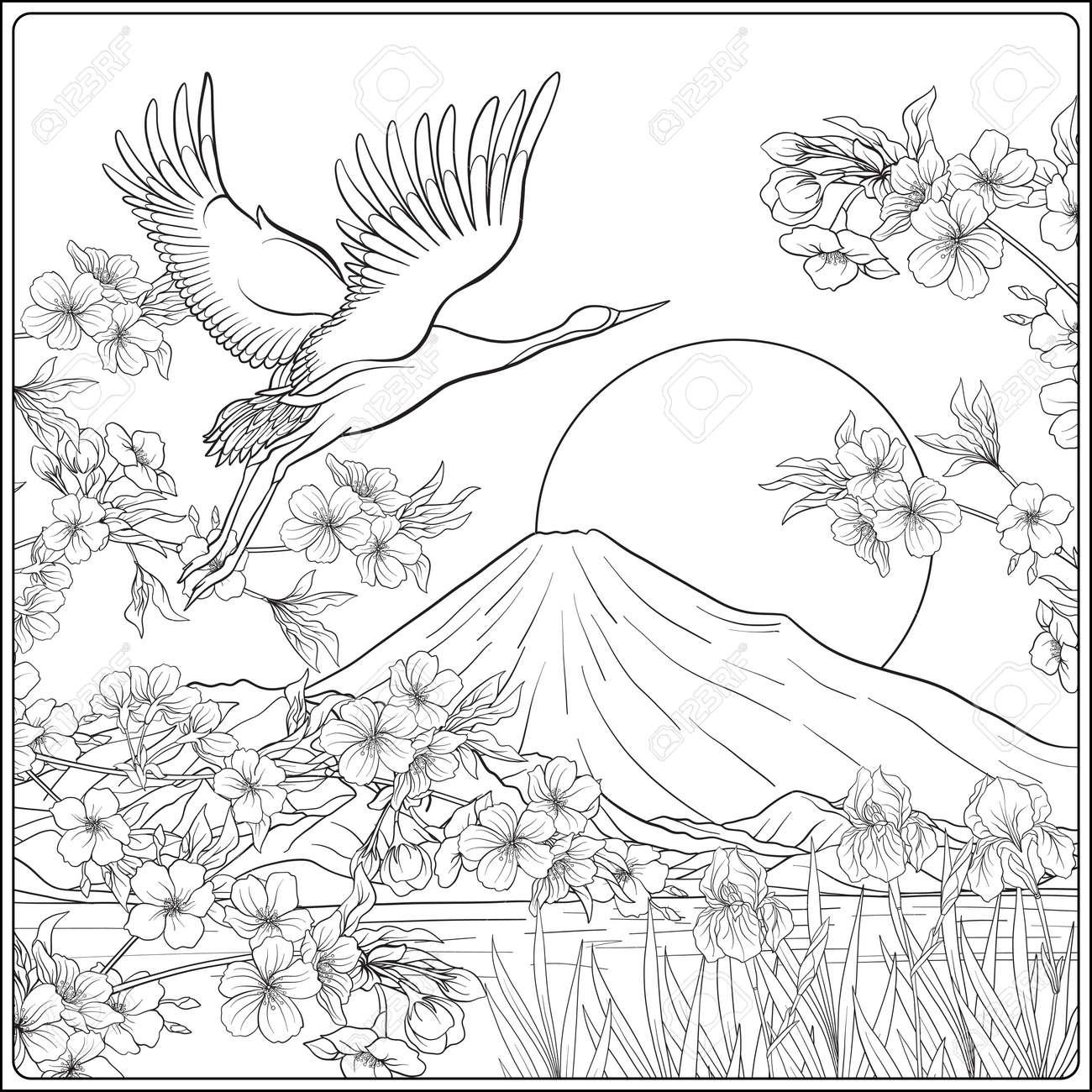 Paisaje Japonés Con El Monte Fuji Y Flores De Tradición Y Un Pájaro ...