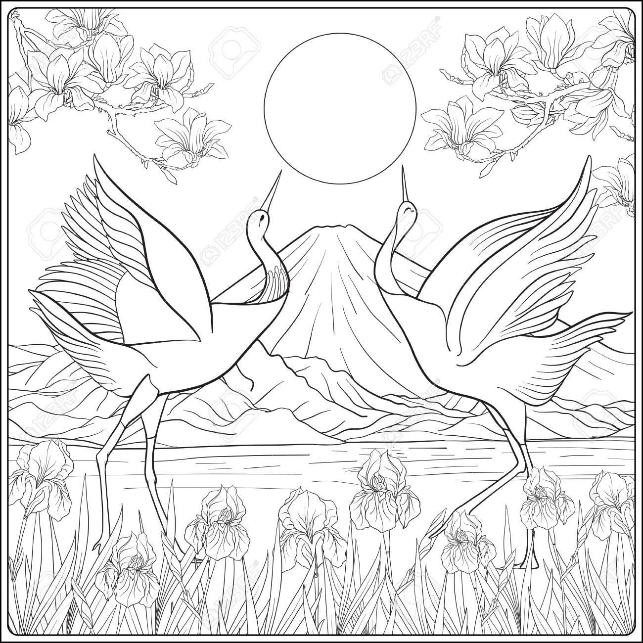 富士山と伝統花と鳥と日本の風景概要図面の着色のページ大人のための