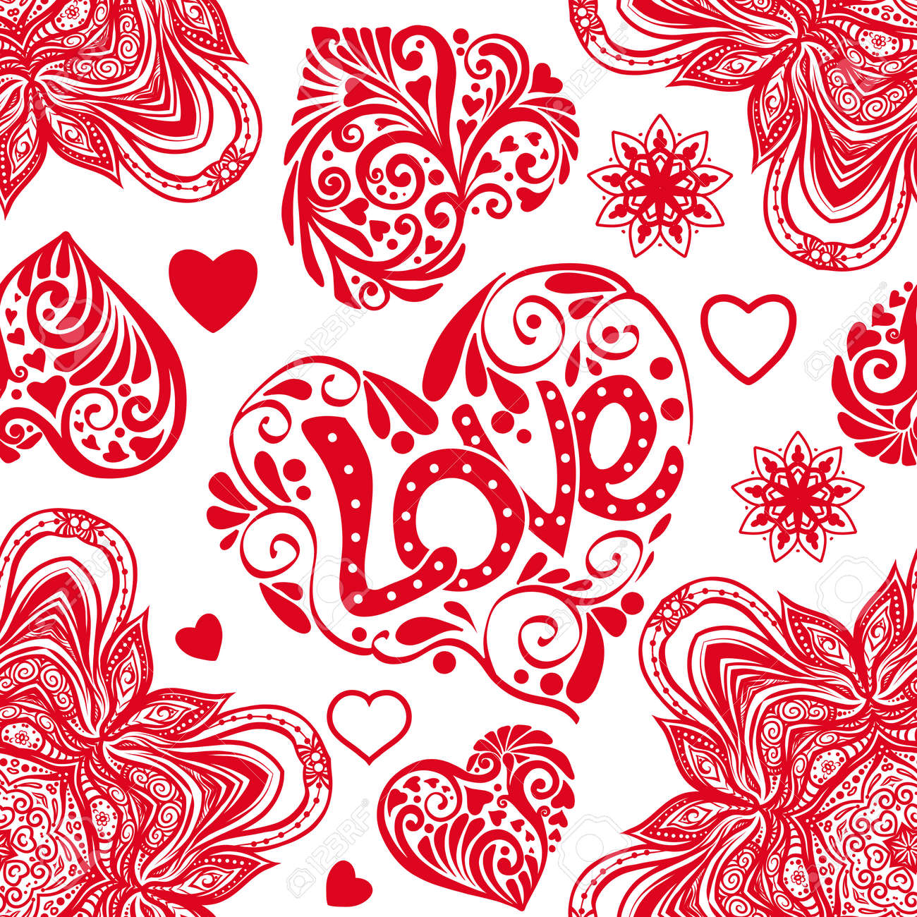 Amor Corazón Y Mandalas De Patrones Sin Fisuras En Colores Blanco Y