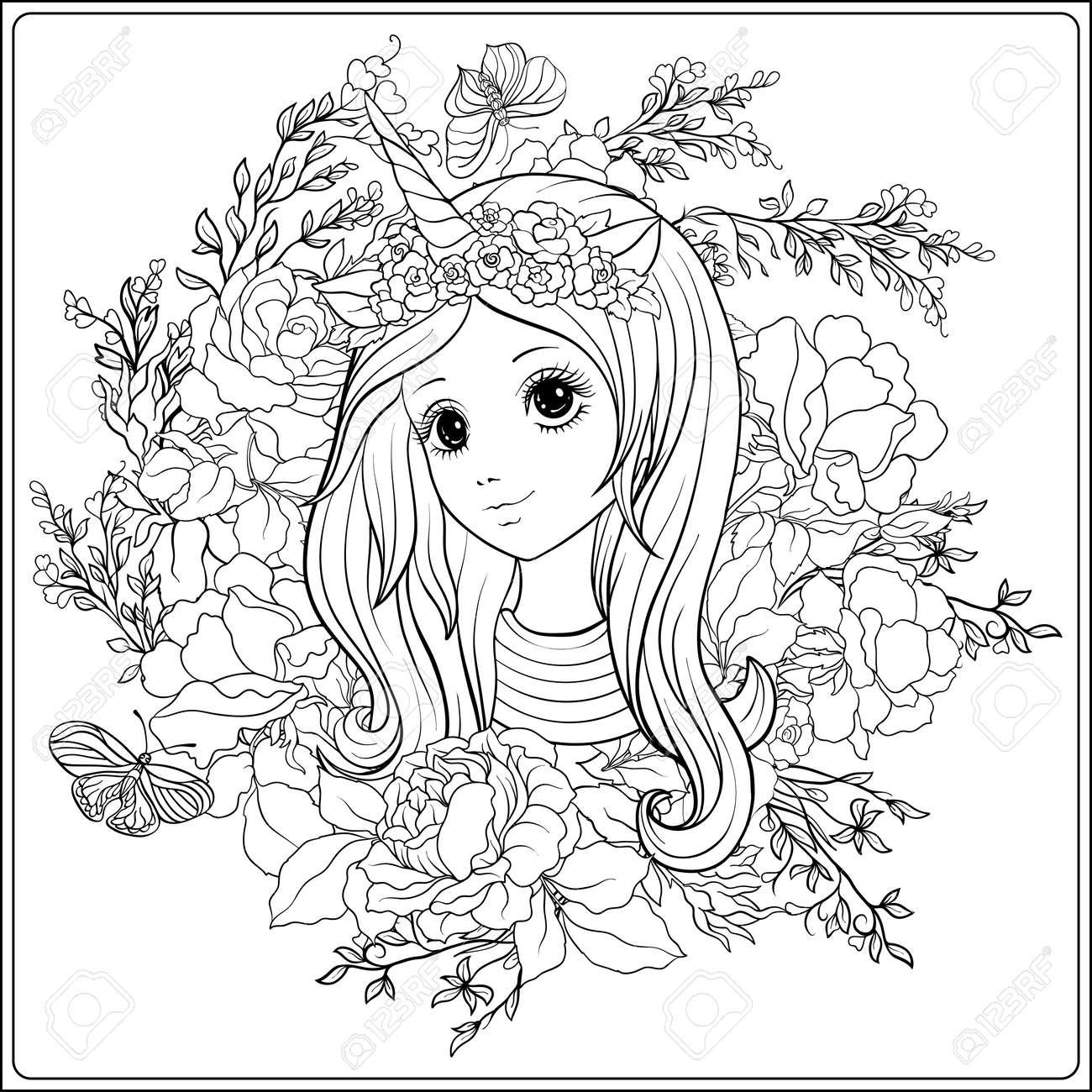 Muchacha Agradable Joven En Un Casquillo Con Un Cuerno Del Unicornio En El Jardín De Rosas Dibujo De Dibujo Para Colorear Libro De Colorear Para