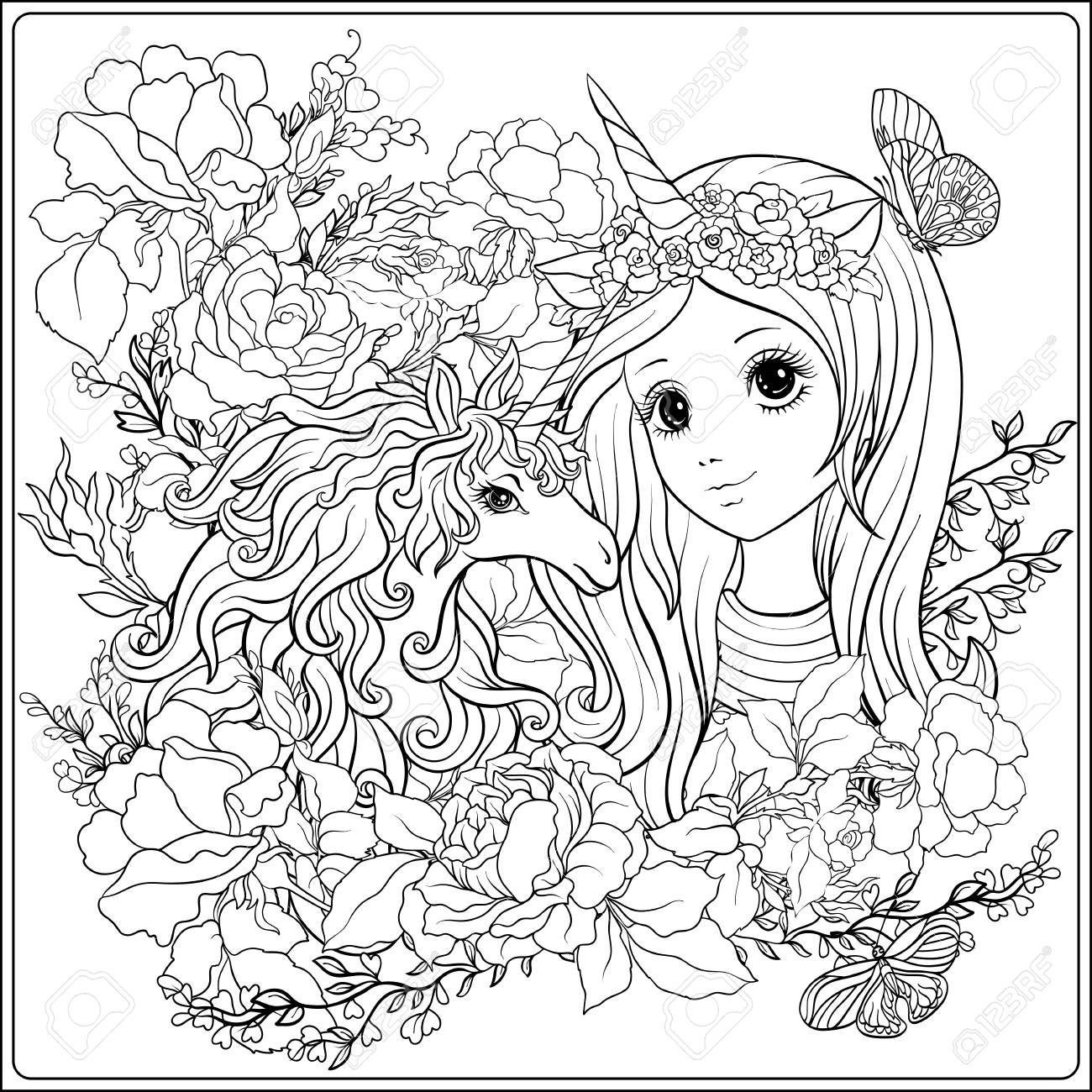Cute girl and unicorn in roses garden. Outline drawing coloring..