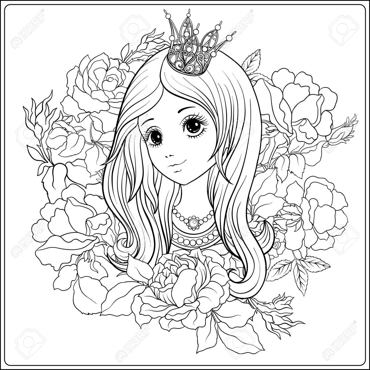 Chica Joven Y Bonita En La Corona De La Princesa En El Jardín De ...