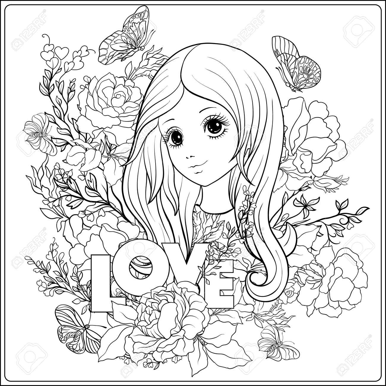 Muchacha Agradable Joven Con Largo Oye En El Jardín De Rosas Dibujo De Dibujo Para Colorear Libro De Colorear Para Adulto Vector De Stock