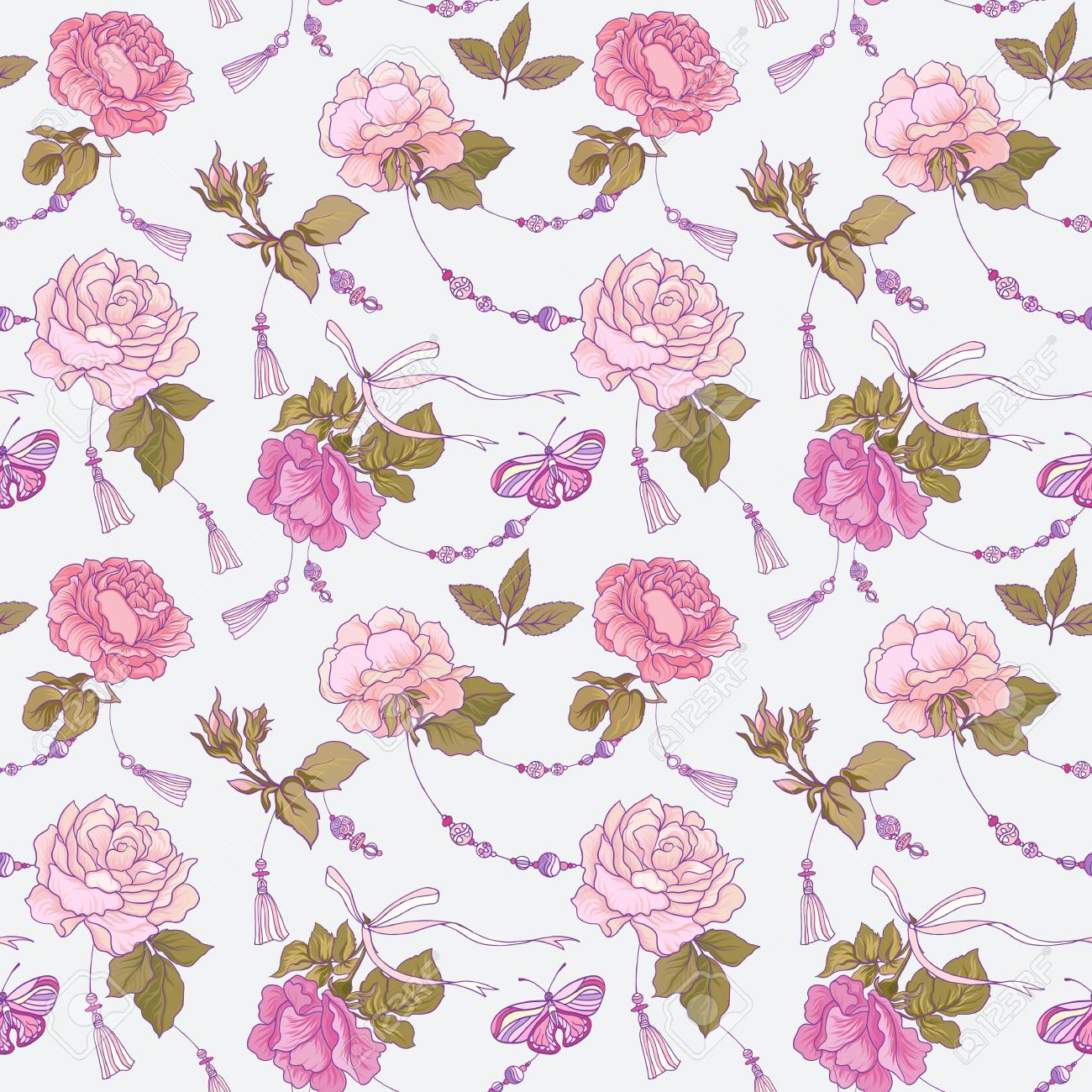 Seamless Patterns With Rose Flowers And Butterflies In Pink And