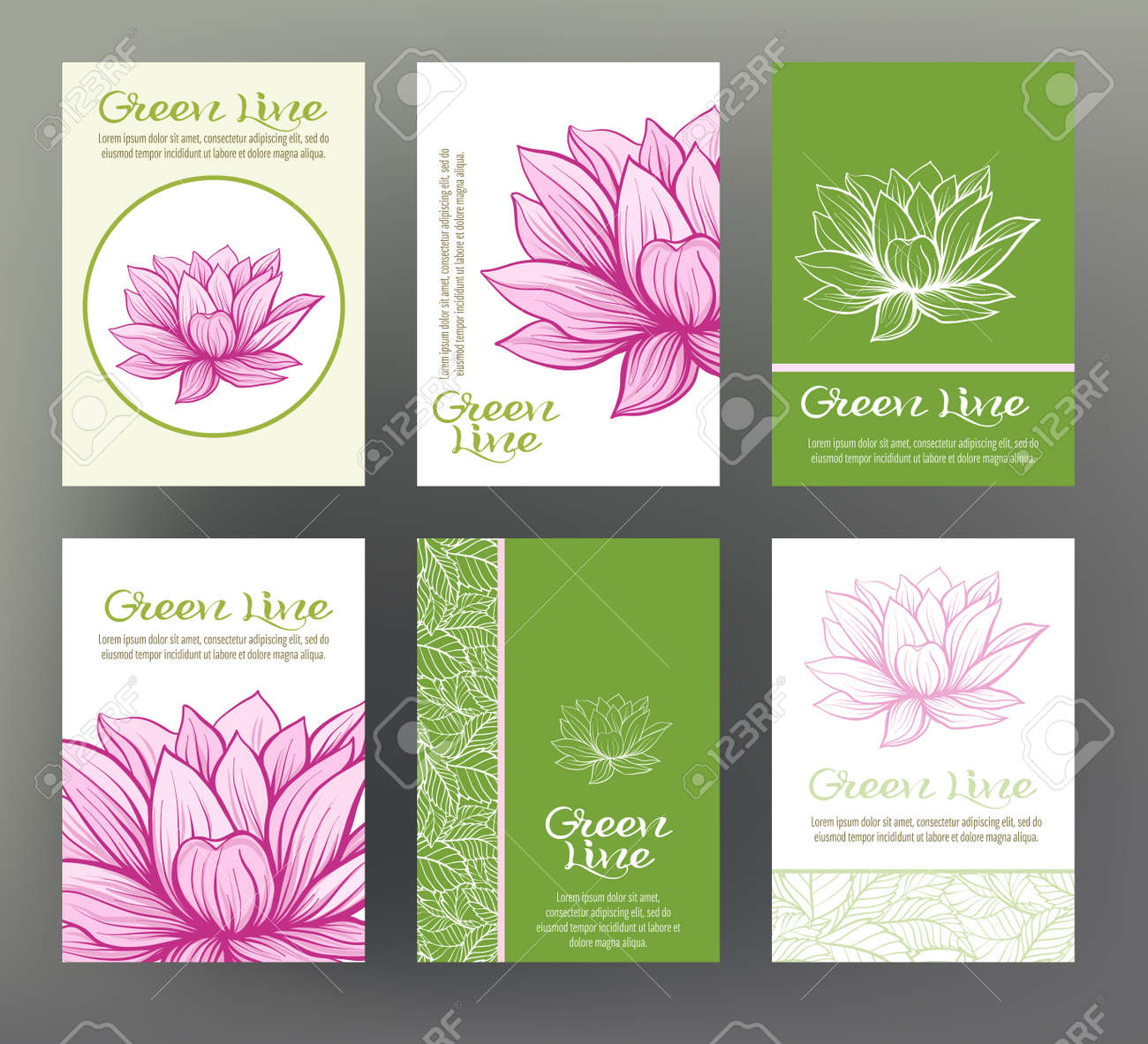 lotus set of six cards with traditional japanese flowers for