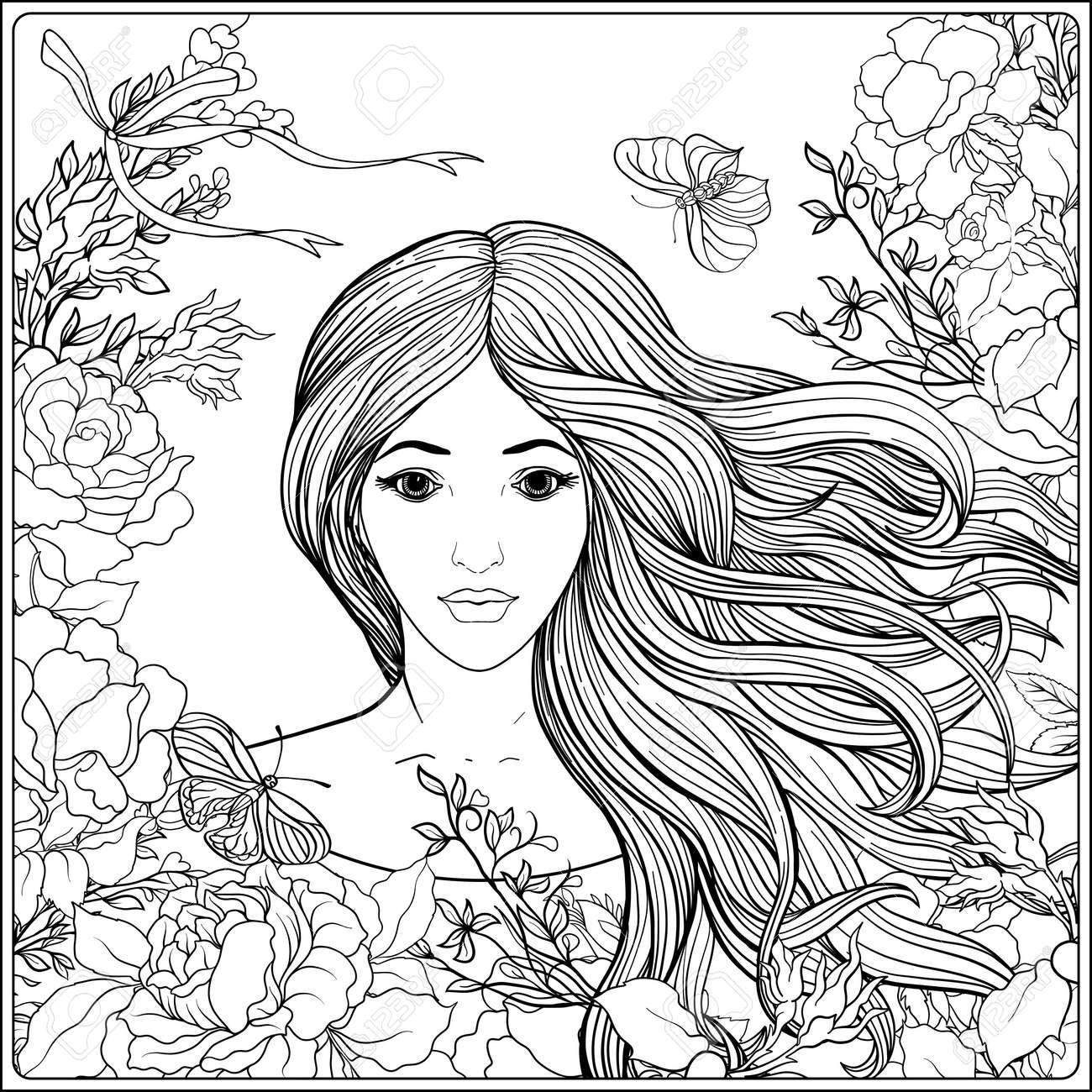 Coloriage Fille Cheveux Longs.Jeune Belle Fille Aux Cheveux Longs Dans Un Riche Cadre Decore De Motifs Floraux Illustration Vectorielle De Stock Line Dessin Au Trait Page De
