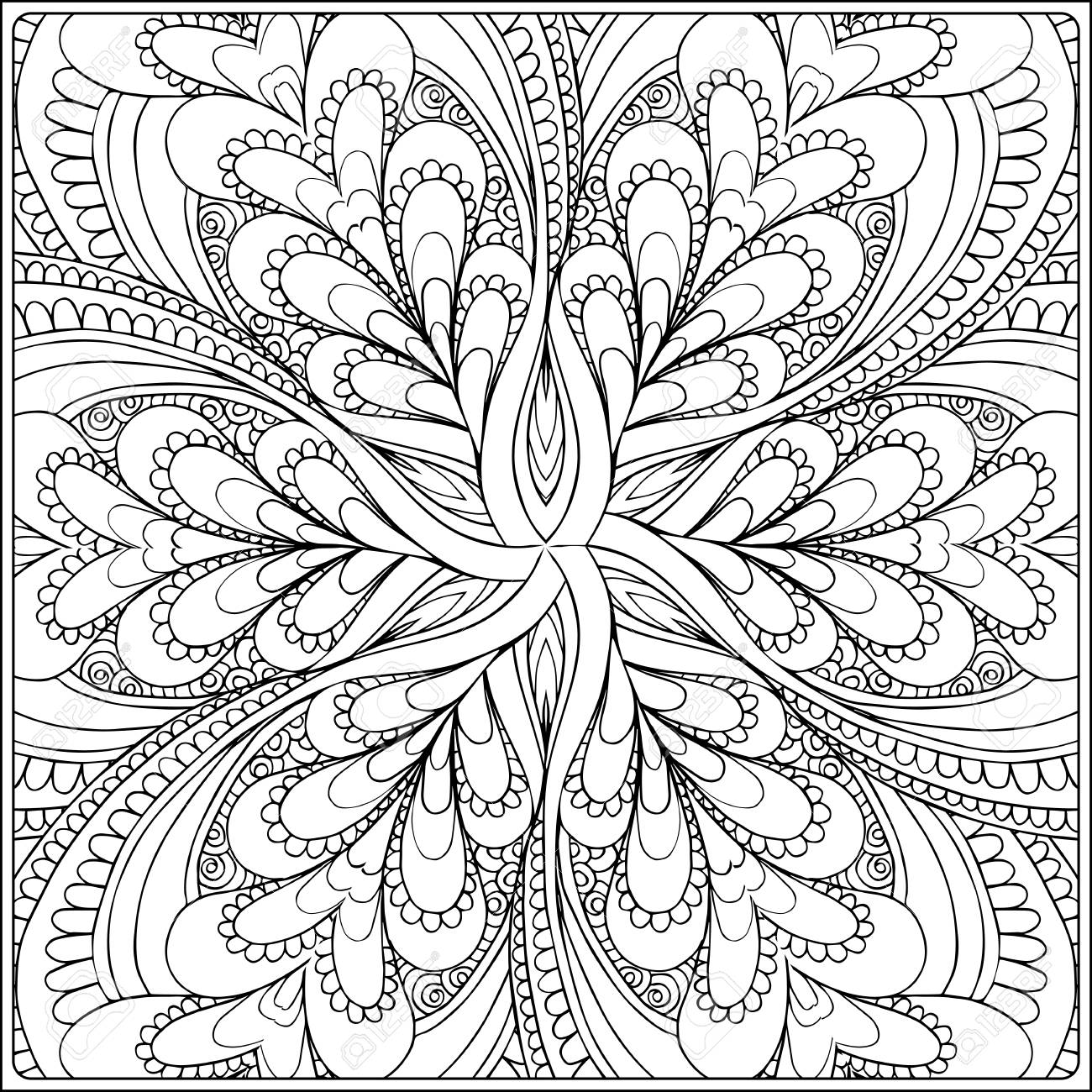 seamless pattern. Outline hand drawing. Good for coloring page for the adult coloring book. Stock vector illustration.Abstract vector decorative ethnic mandala black and white - 111921618
