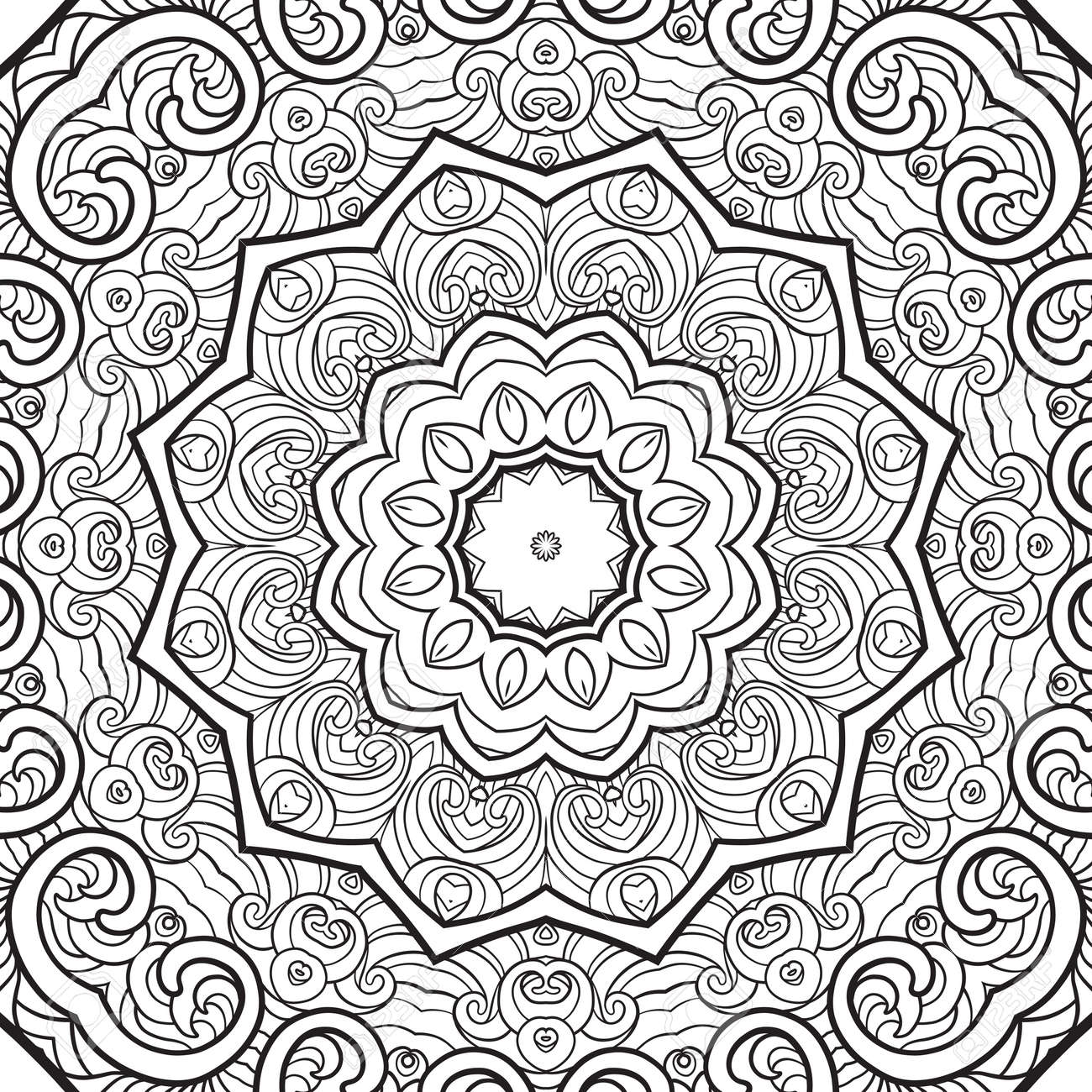 seamless pattern. Outline hand drawing. Good for coloring page for the adult coloring book. Stock vector illustration.Abstract vector decorative ethnic mandala black and white - 111921648