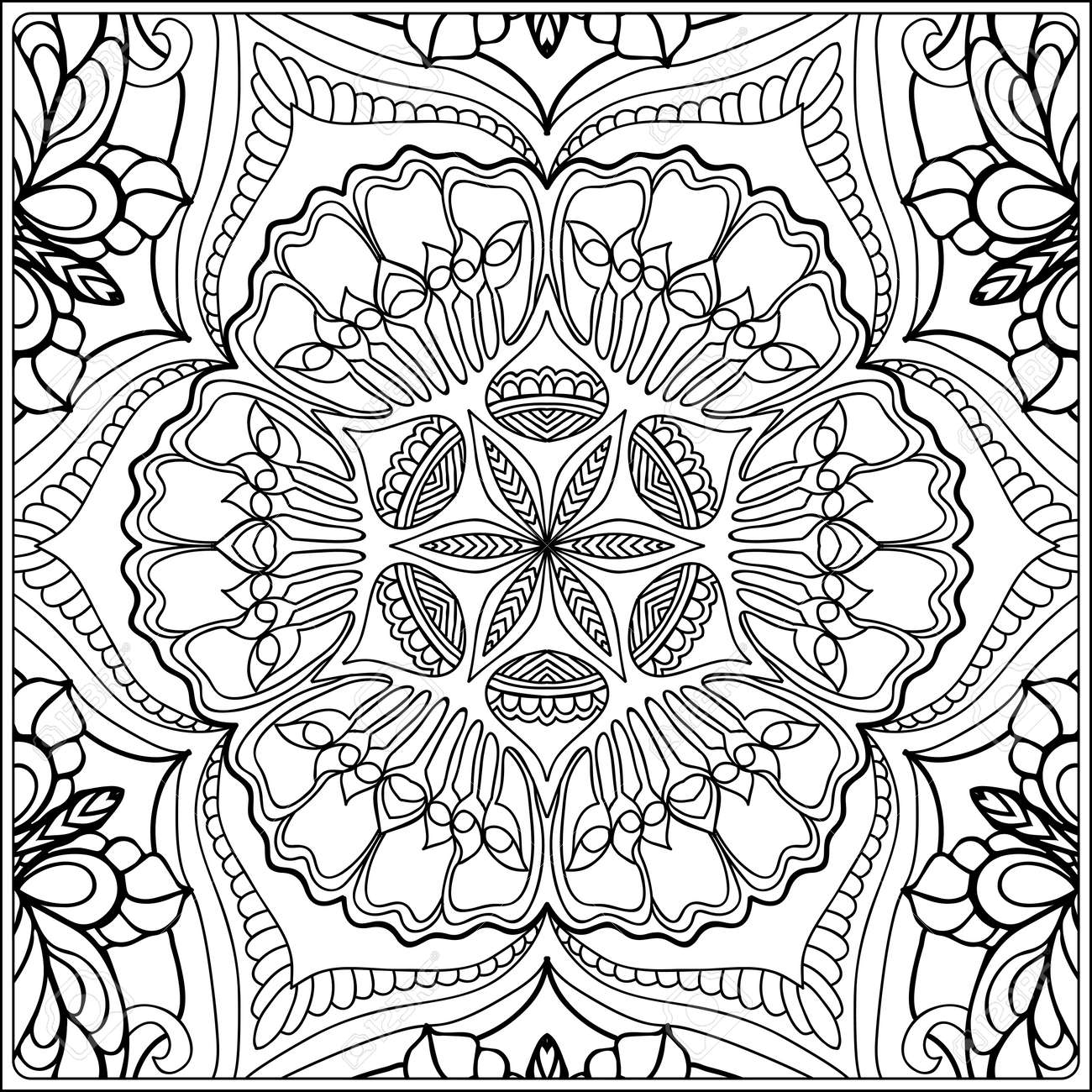 seamless pattern. Outline hand drawing. Good for coloring page for the adult coloring book. Stock vector illustration.Abstract vector decorative ethnic mandala black and white - 111921649