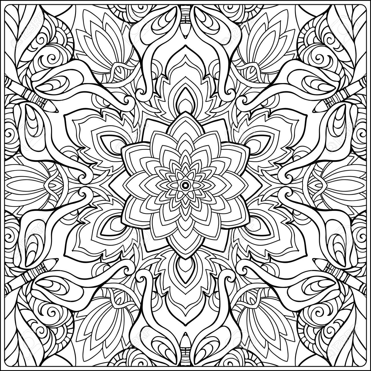 seamless pattern. Outline hand drawing. Good for coloring page for the adult coloring book. Stock vector illustration.Abstract vector decorative ethnic mandala black and white - 106545535