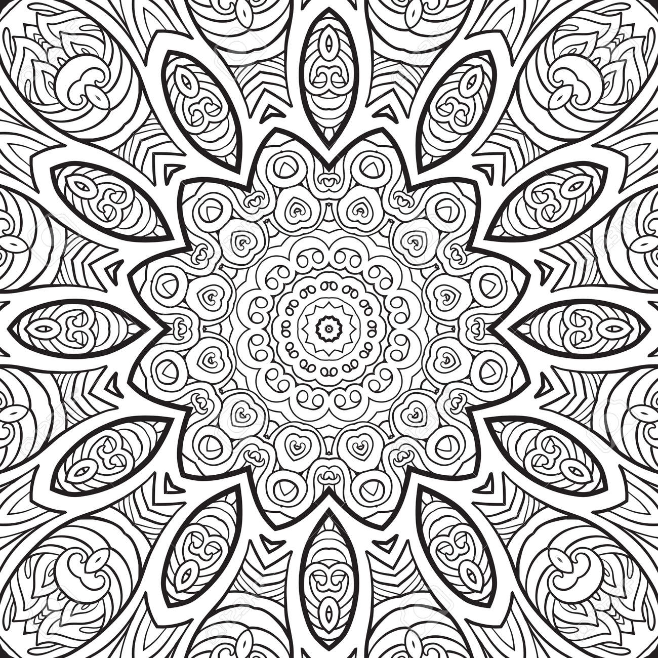 seamless pattern. Outline hand drawing. Good for coloring page for the adult coloring book. Stock vector illustration.Abstract vector decorative ethnic mandala black and white - 111921655