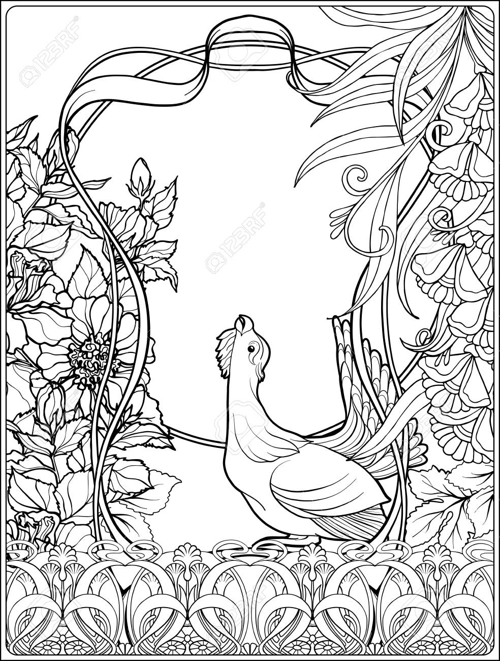 - Poster, Background With Decorative Flowers And Carp Fish In Art