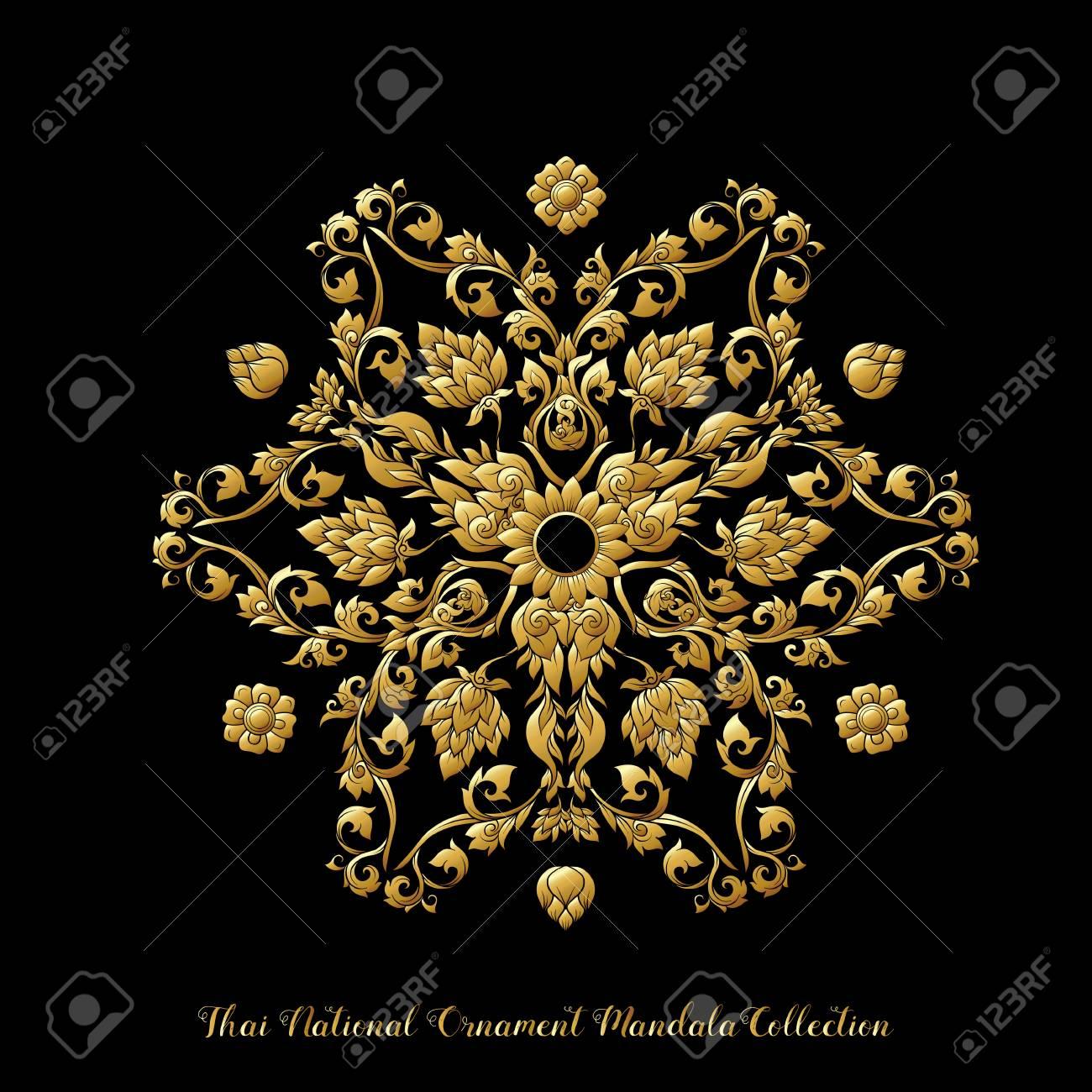 Gold mandala of traditional Thai ornament. Stock illustration. - 106702426