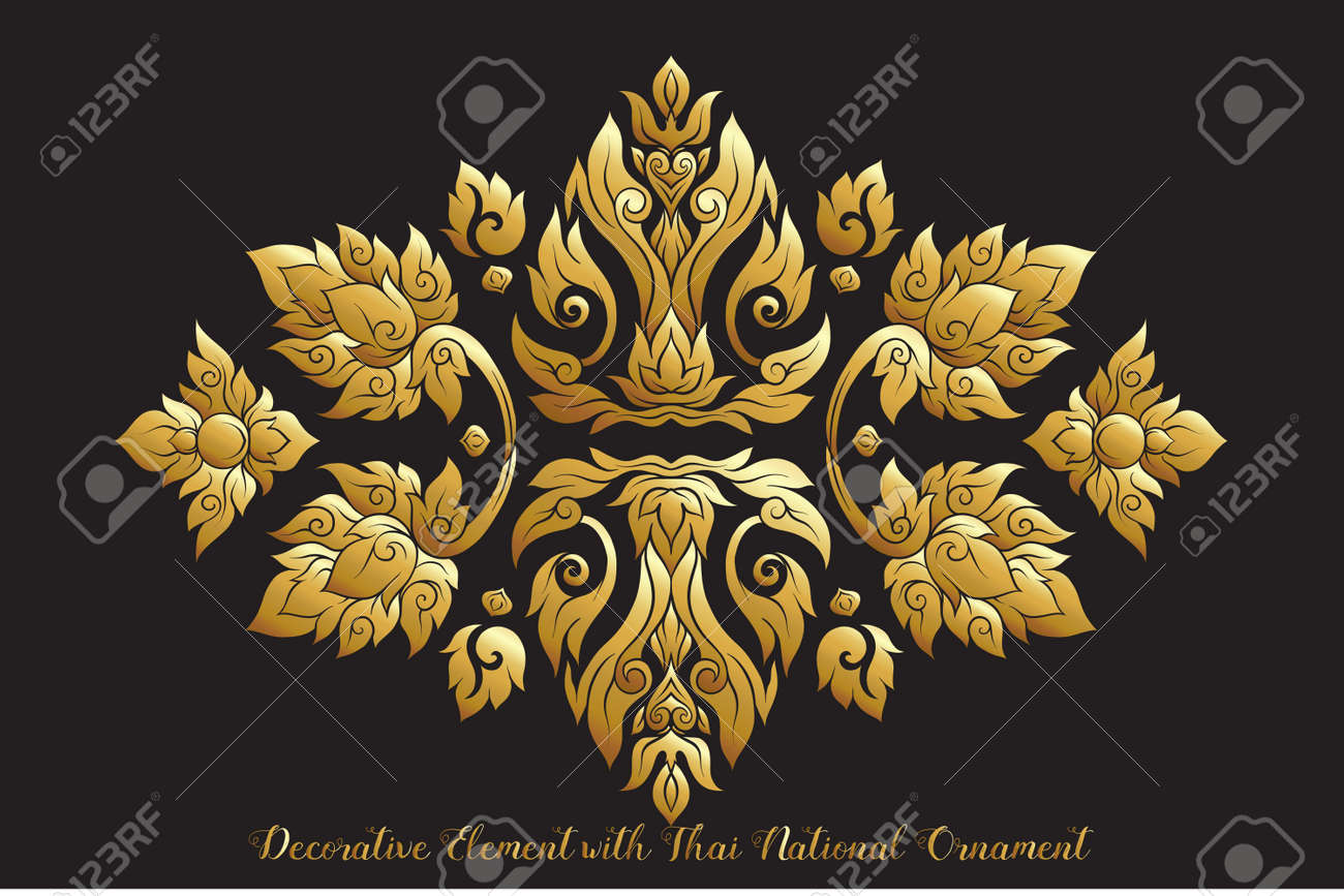Set of gold elements of traditional Thai ornament. - 107323612
