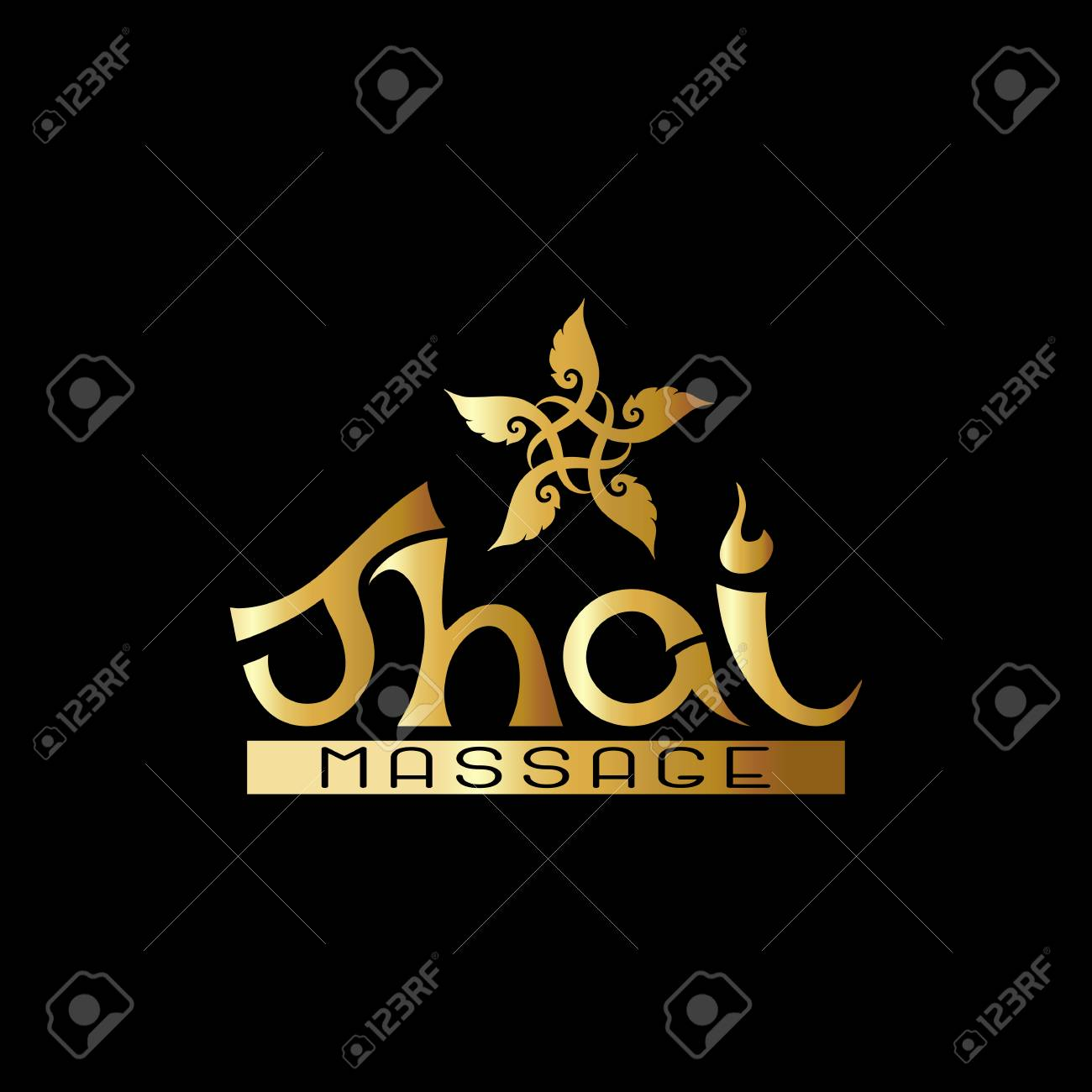 Logo for Thai massage with traditional thai ornament, pattern el - 106844683