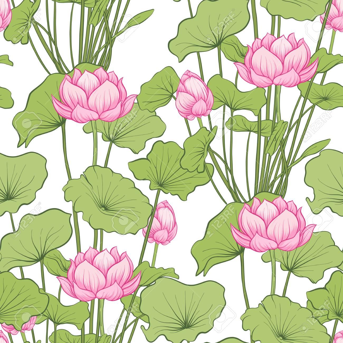 Seamless pattern, background with lotus flower. Botanical illustration style. Stock vector illustration. - 111839908