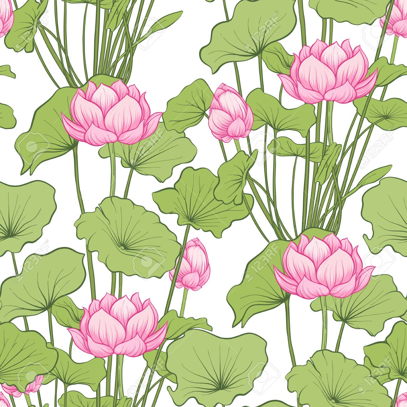 Seamless Pattern Background With Lotus Flower Botanical