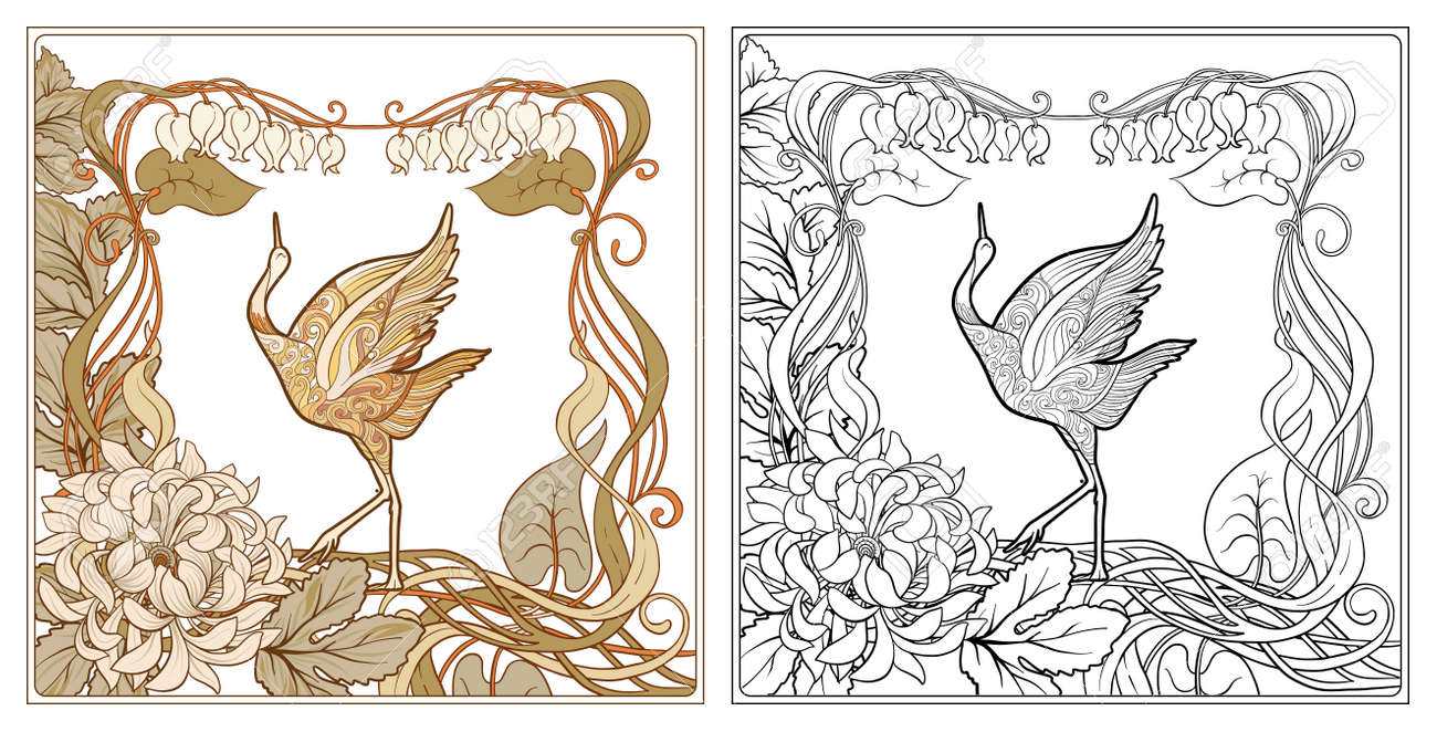 Poster Background With Decorative Flowers And Bird In Art Nouveau Royalty Free Cliparts Vectors And Stock Illustration Image 110506629