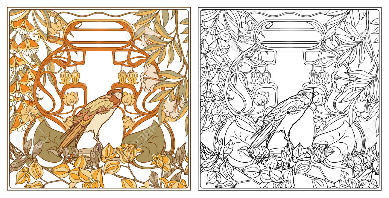 - Poster, Background With Decorative Flowers And Bird In Art Nouveau