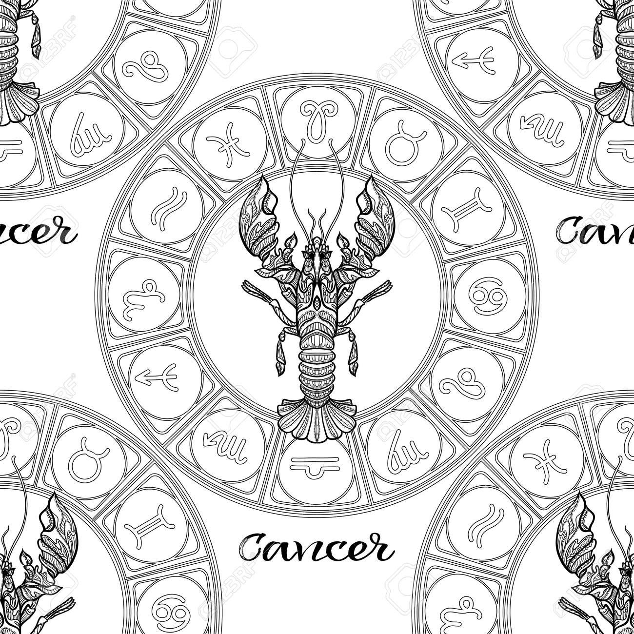 Seamless Pattern With Symbols Of A Horoscope Signs Of The Zodiac
