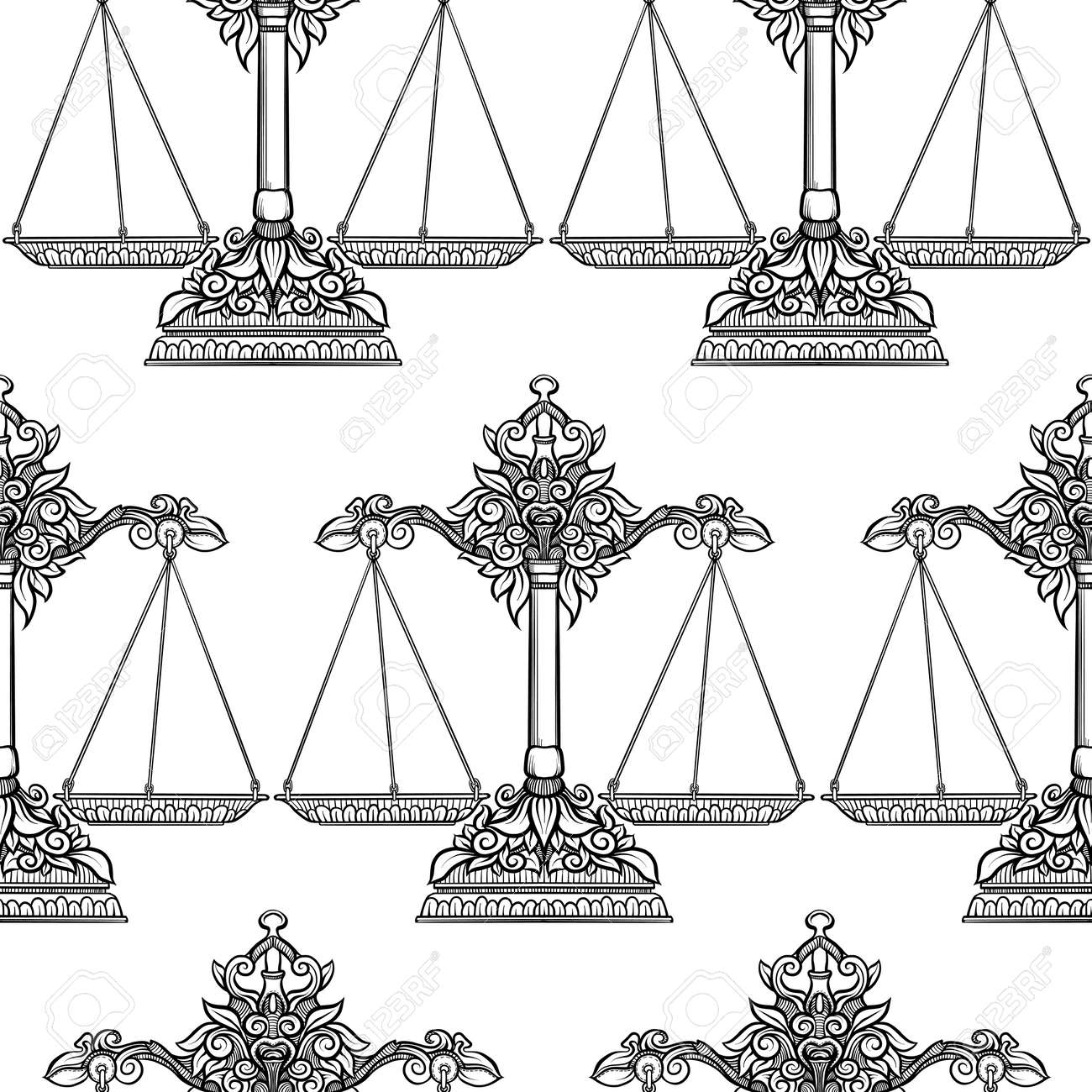 Seamless Pattern Background With Ethnic Patterned Ornate Hand - Balance-scale-coloring-page