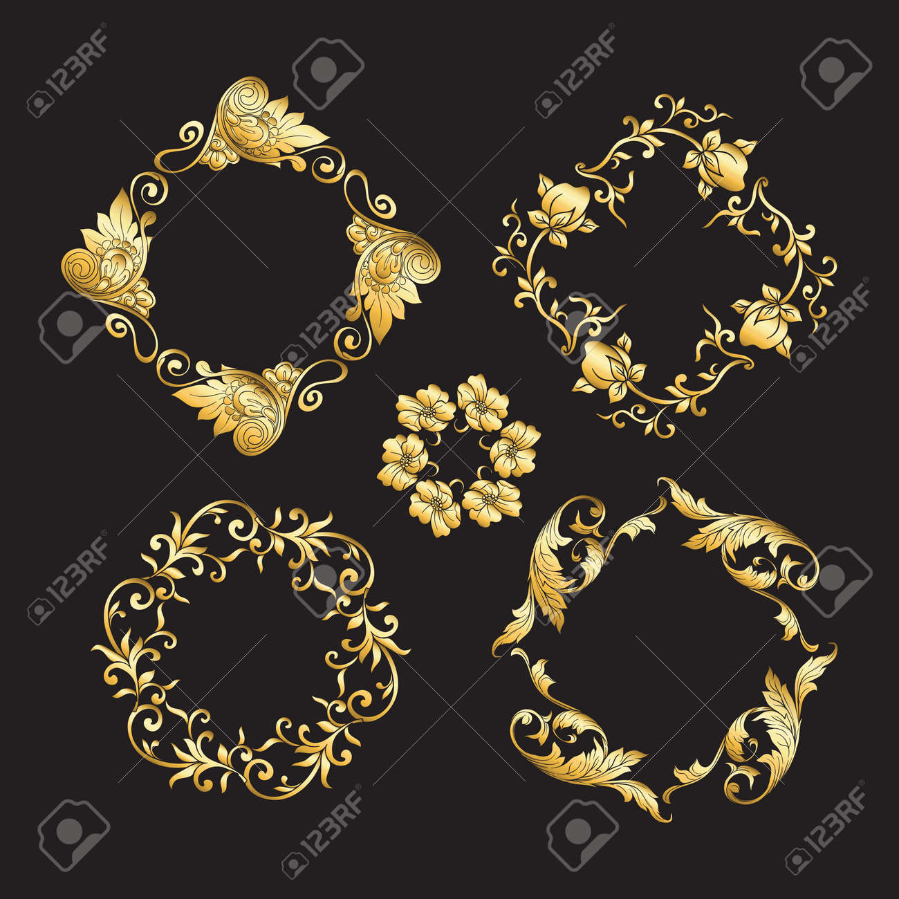 Chinese national ornament. Set of elements. In gold and blackVector illustration in gold colors. - 130790903
