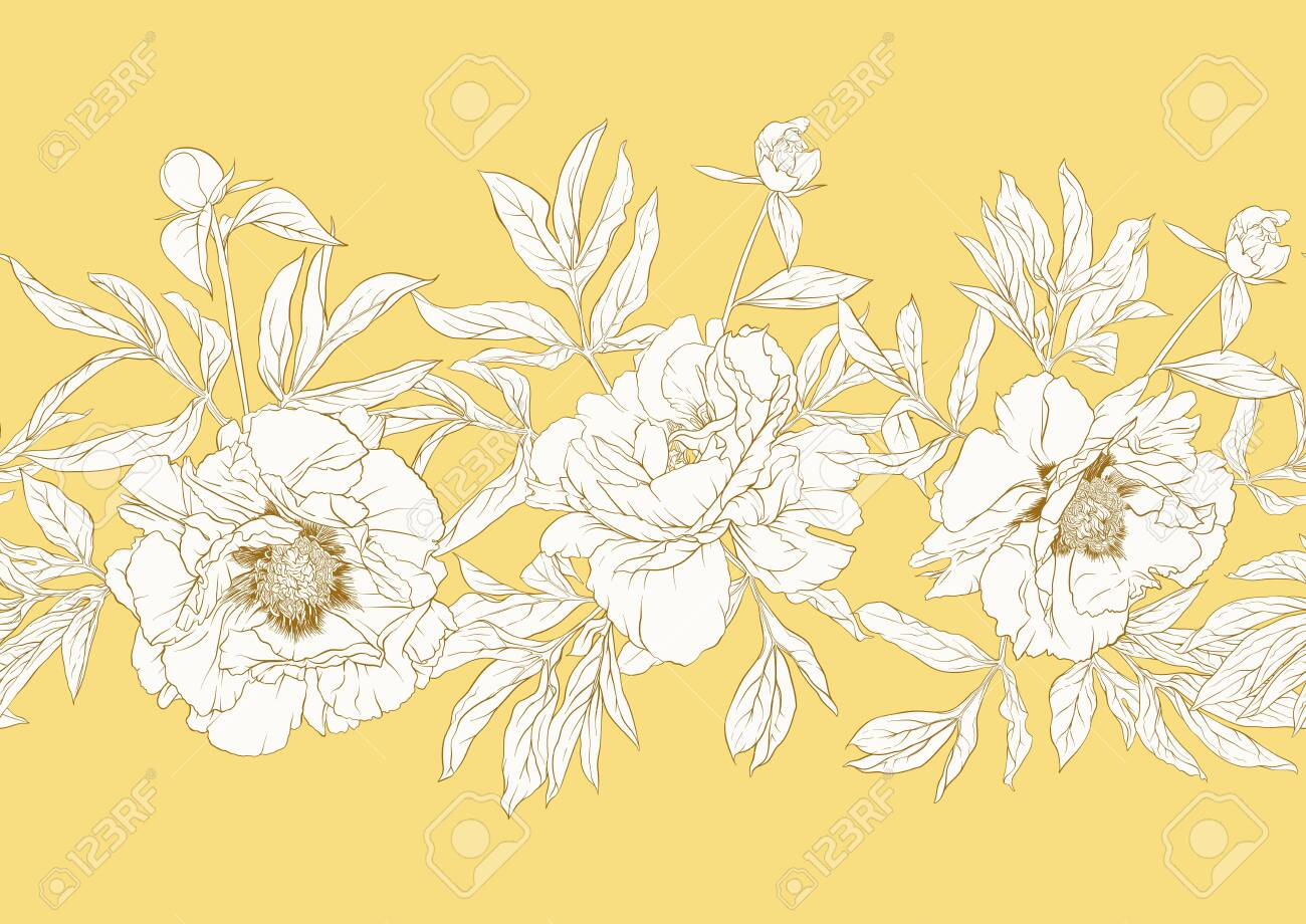 Peony flower. Seamless pattern, background. Black and white graphics. Vector illustration. In botanical style In soft mellow yellow color.. - 132869687