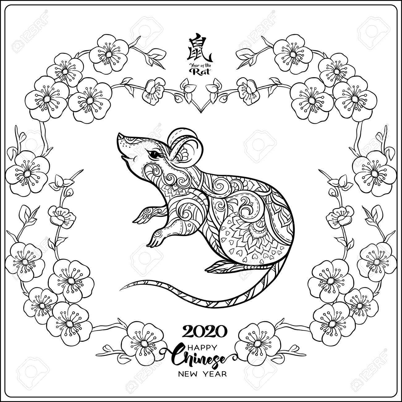 Mouse Rat Coloring Page For The Adult Coloring Book Chinese Royalty Free Cliparts Vectors And Stock Illustration Image 133160801