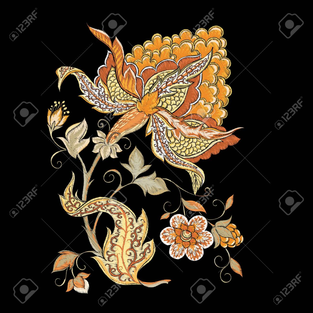 Elements for design. Fantasy flowers, traditional Jacobean embroidery style. Embroidery imitation. Vector illustration in beige colors isolated on black background.. - 133274673