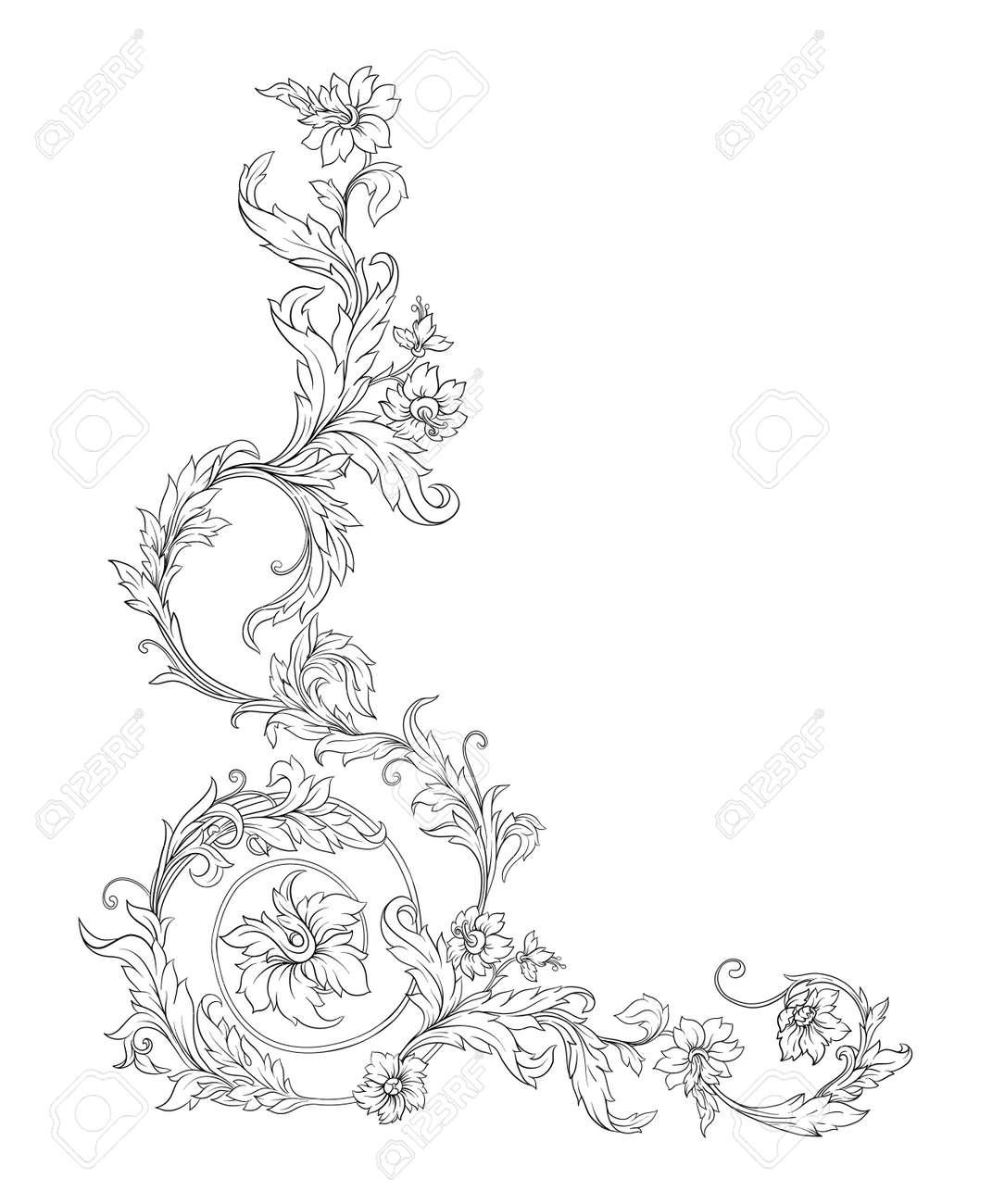 Elements In baroque, rococo, victorian renaissance style. Trendy floral vintage pattern. Vector illustration - 133825431