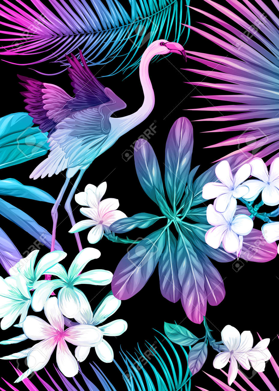 Background, wallpaper, cover with tropical plants, flowers and birds in neon, fluorescent colors. Vector illustration. Isolated on black background. - 133895783