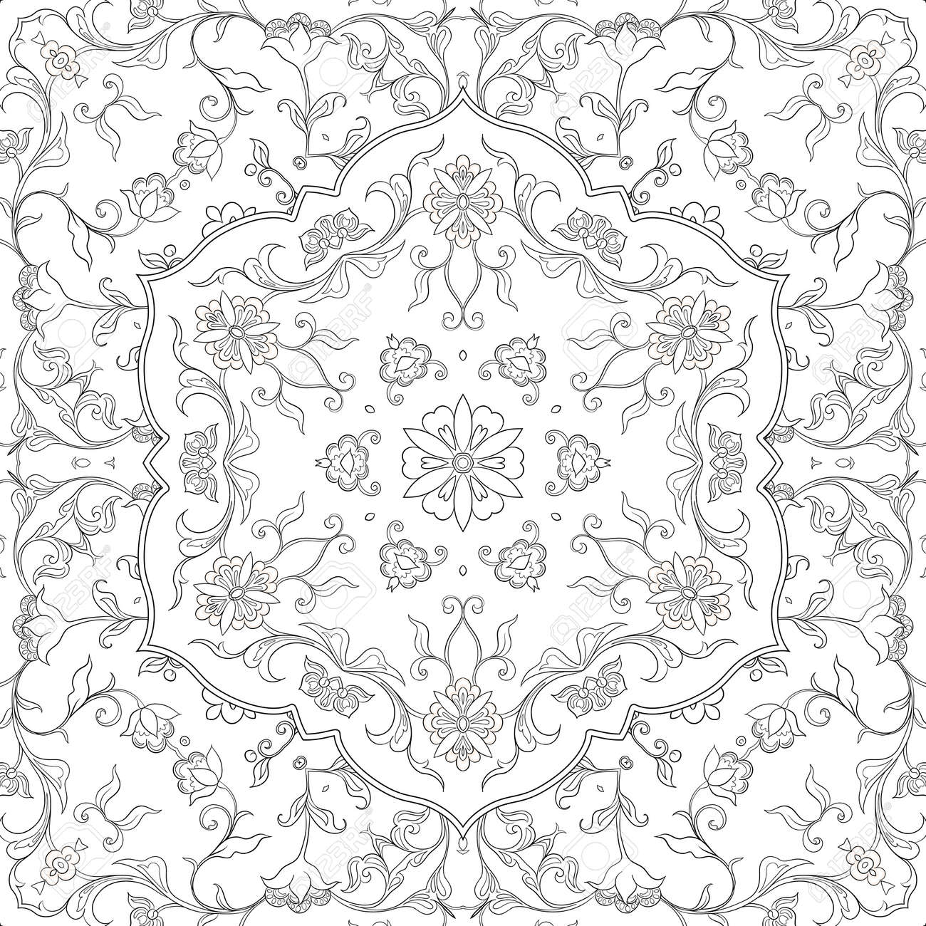 Eastern ethnic motif, traditional muslim ornament. Seamless pattern, background. Vector illustration - 133928616