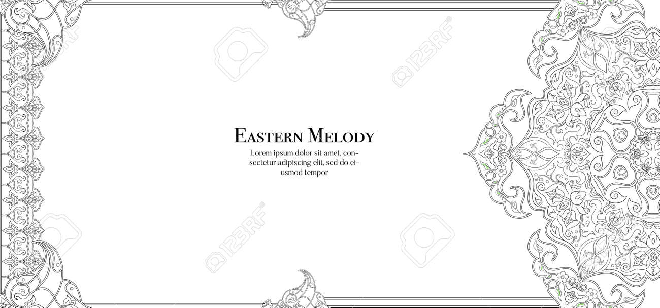 Eastern ethnic motif, traditional muslim ornament. Template for wedding invitation, greeting card, banner, gift voucher, label. - 133996901
