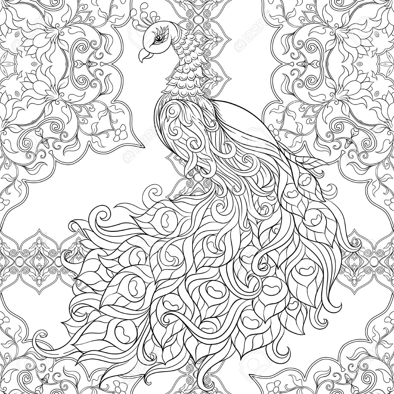 Peacock Bird Seamless Pattern Background Outline Hand Drawing Royalty Free Cliparts Vectors And Stock Illustration Image 134179154